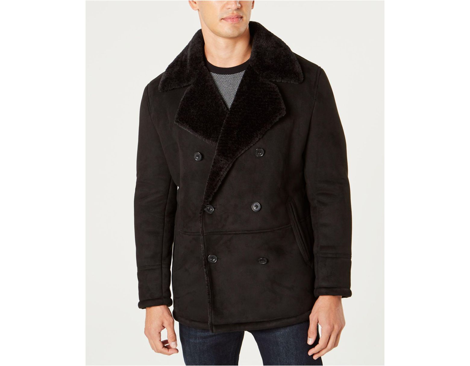 a5316a87b Kenneth Cole Faux Sherpa Collar Double-breasted Pea Coat in Black ...
