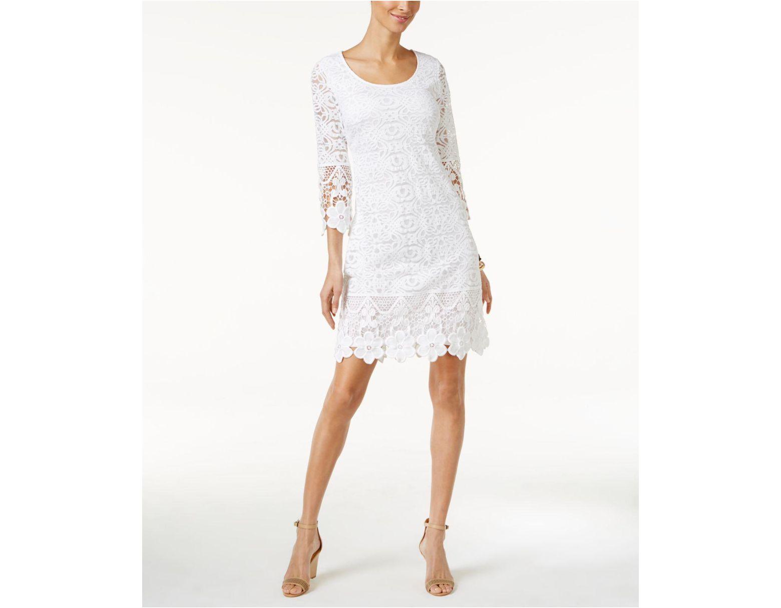 4632835b5ae Alfani Crochet-trim Illusion Dress - Lyst