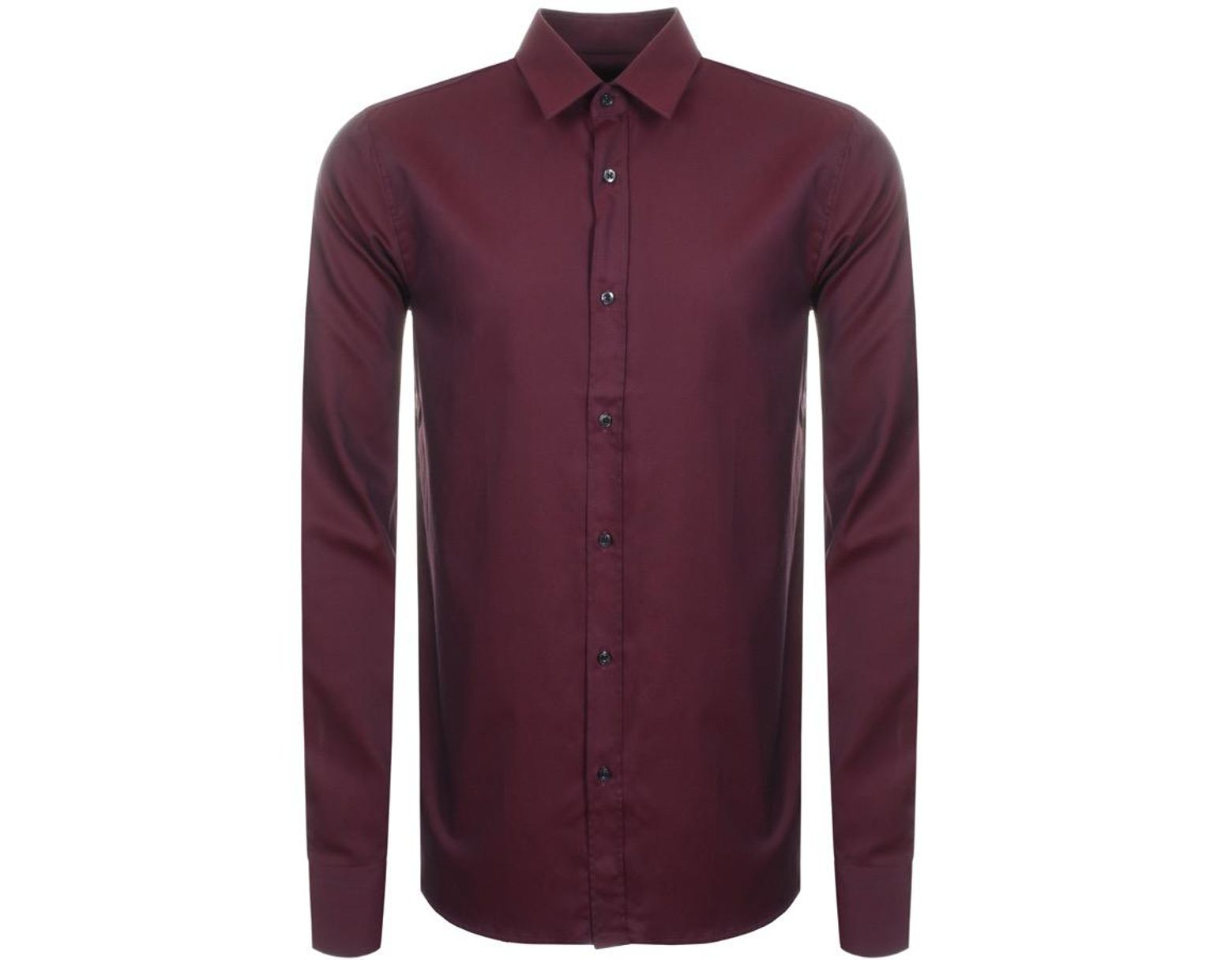 c1c5c6b8 HUGO Elisha 01 Shirt Burgundy in Purple for Men - Lyst