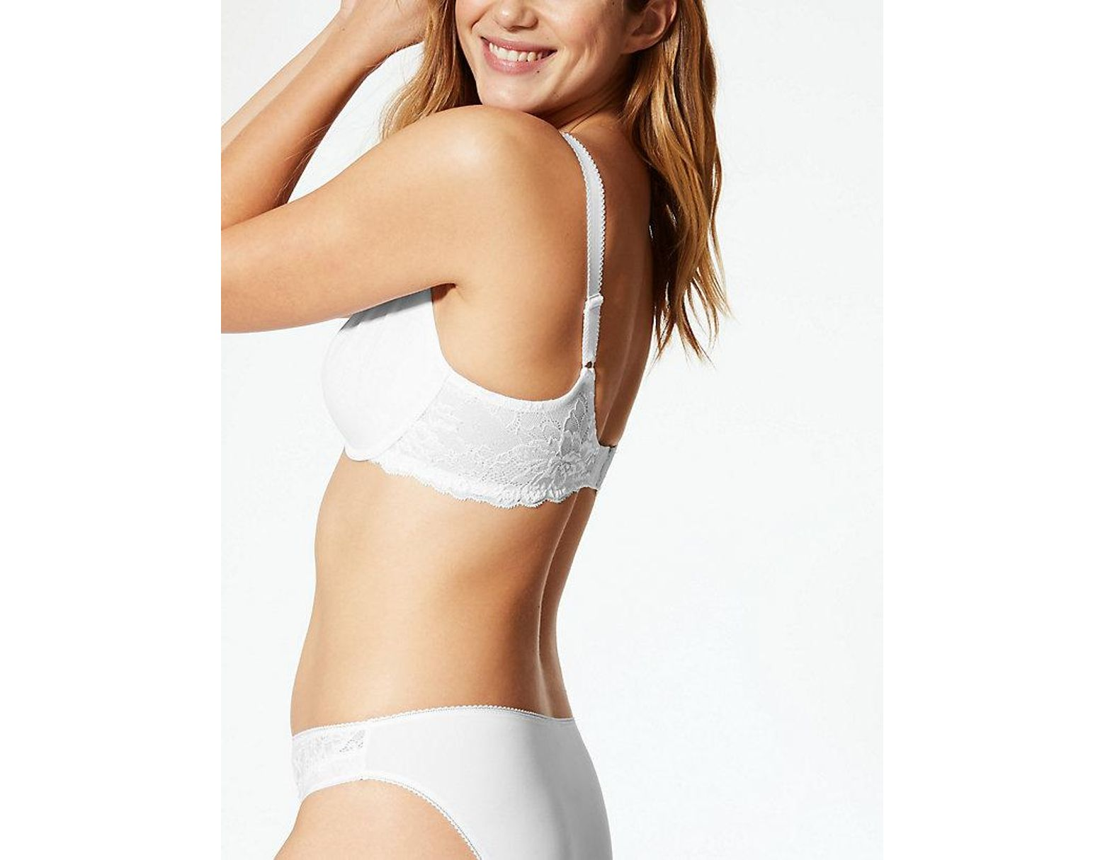 3e14deffb27a Marks & Spencer Lace Wing Smoothing Underwired Non Padded Bra B-e in White  - Lyst