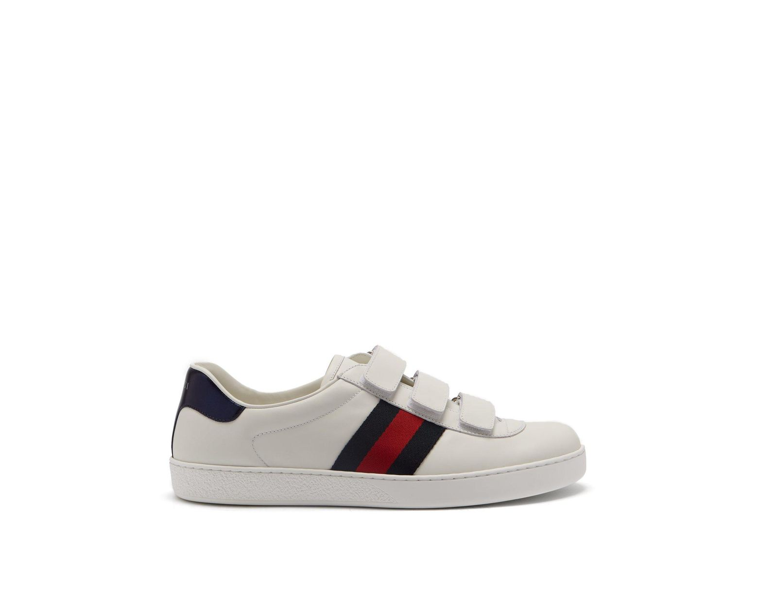2594c8f1d Gucci New Ace Web Stripe Low Top Leather Trainers in White for Men - Lyst