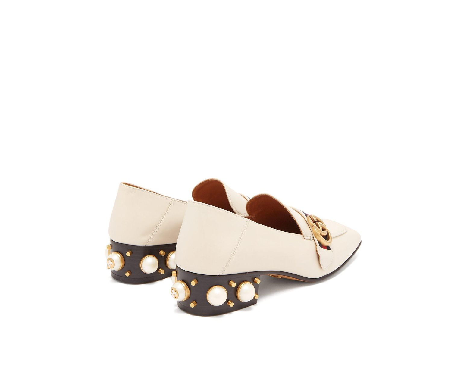 81afc4979 Gucci Peyton Pearl Embellished Leather Loafers in White - Lyst