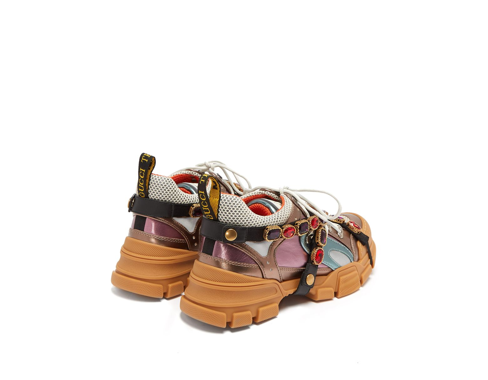 7d3c71a06 Gucci Flashtrek Metallic Leather Hiker Sneaker With Chain Strap - Save 27%  - Lyst