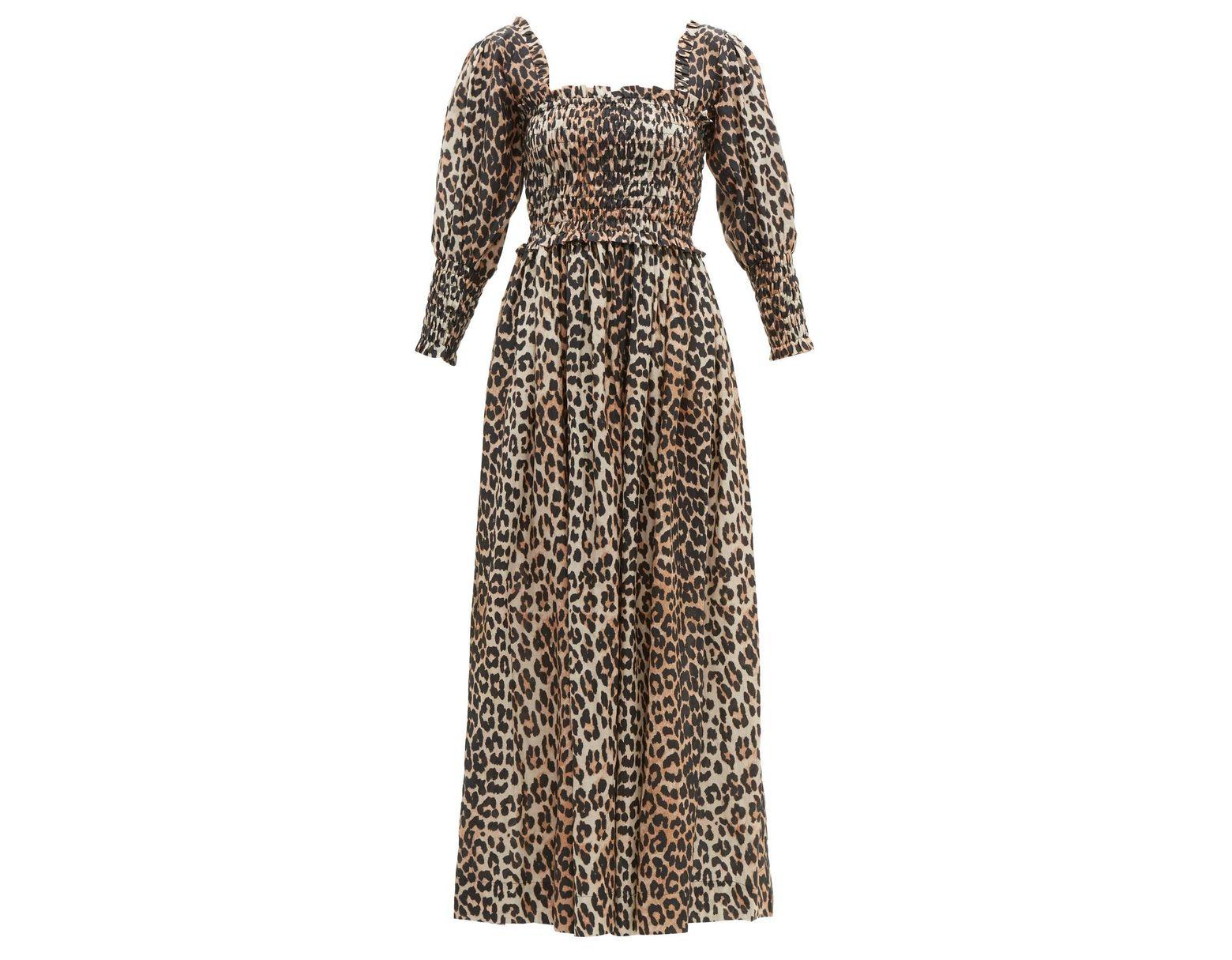 5512f7995e75 Ganni Shirred Leopard Print Cotton Blend Maxi Dress - Lyst