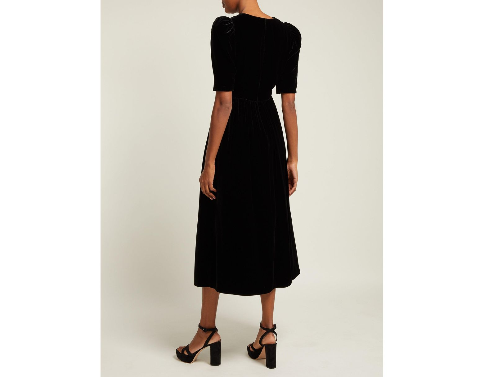 b13a16b1642 Gucci Velvet Dress in Black - Lyst