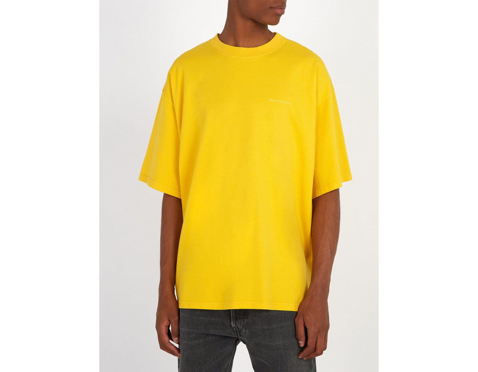 2f464d44 Balenciaga Self Help Print Cotton T Shirt in Yellow for Men - Lyst