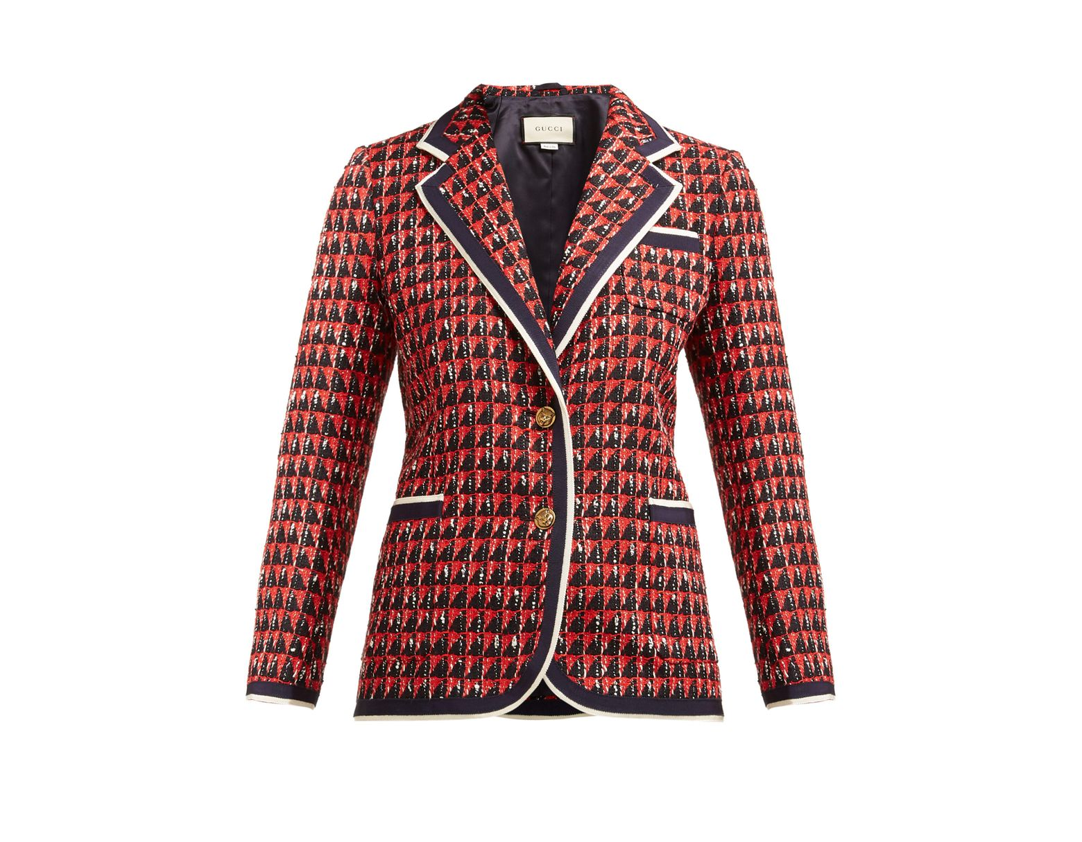 093235f0e1e Gucci Geo Tweed Jacket in Red - Lyst