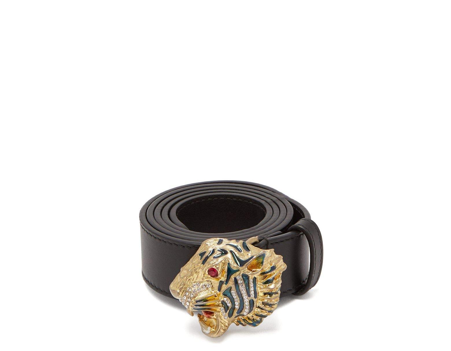 45c11780c Gucci Tiger Head Belt in Black - Save 25% - Lyst