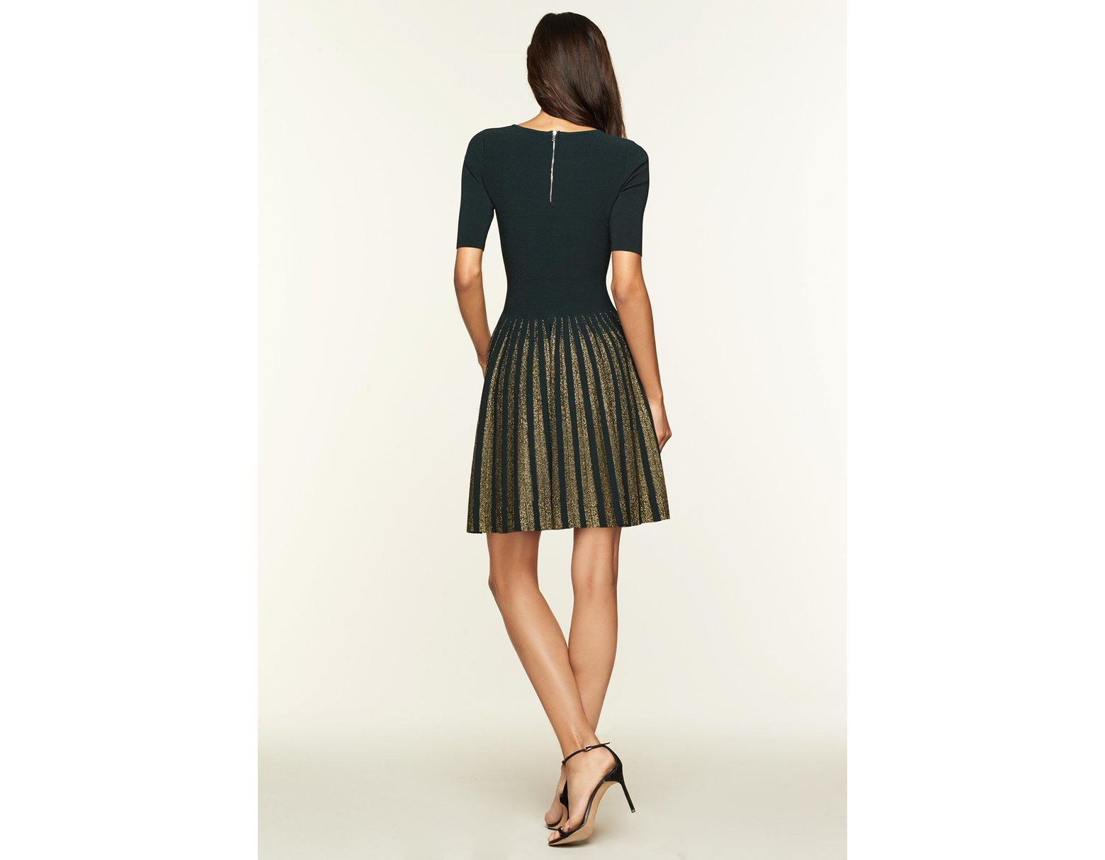 0e8abdb59e MILLY Lurex Pleated Dress in Green - Lyst