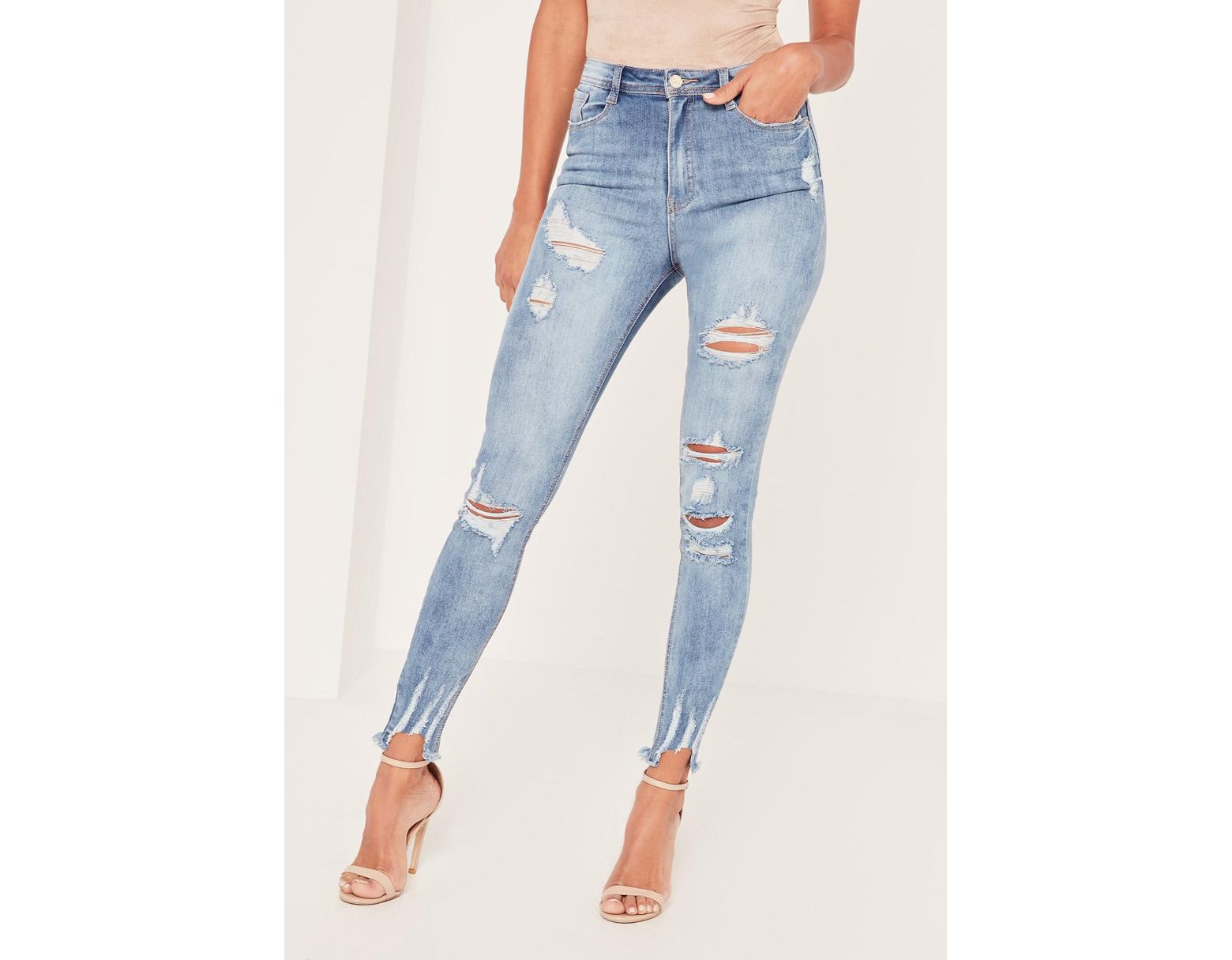 ced5729c94f Missguided Blue Sinner High Waisted Authentic Ripped Skinny Jeans in Blue -  Lyst