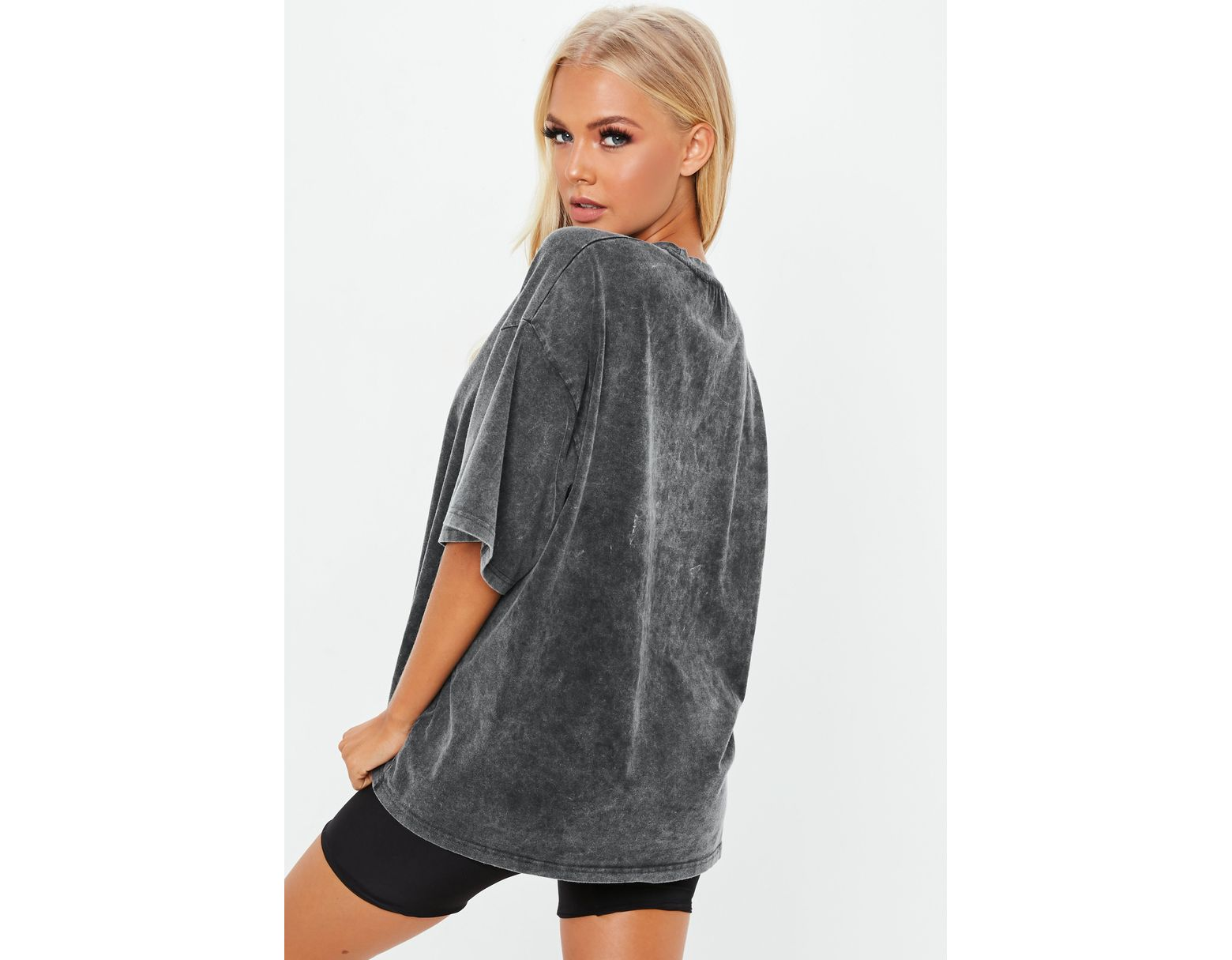 541005b813d Lyst - Missguided Grey Drop Shoulder Oversized Washed Top in Gray