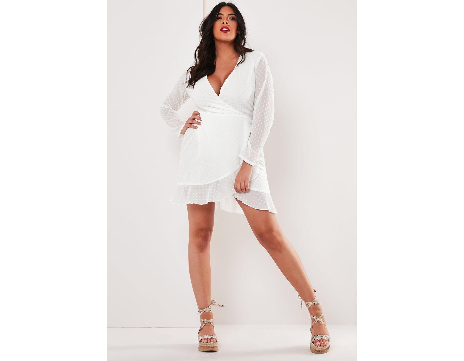 d61e4e6f61 Lyst - Missguided Plus Size White Dobby Wrap Front Mini Dress in White
