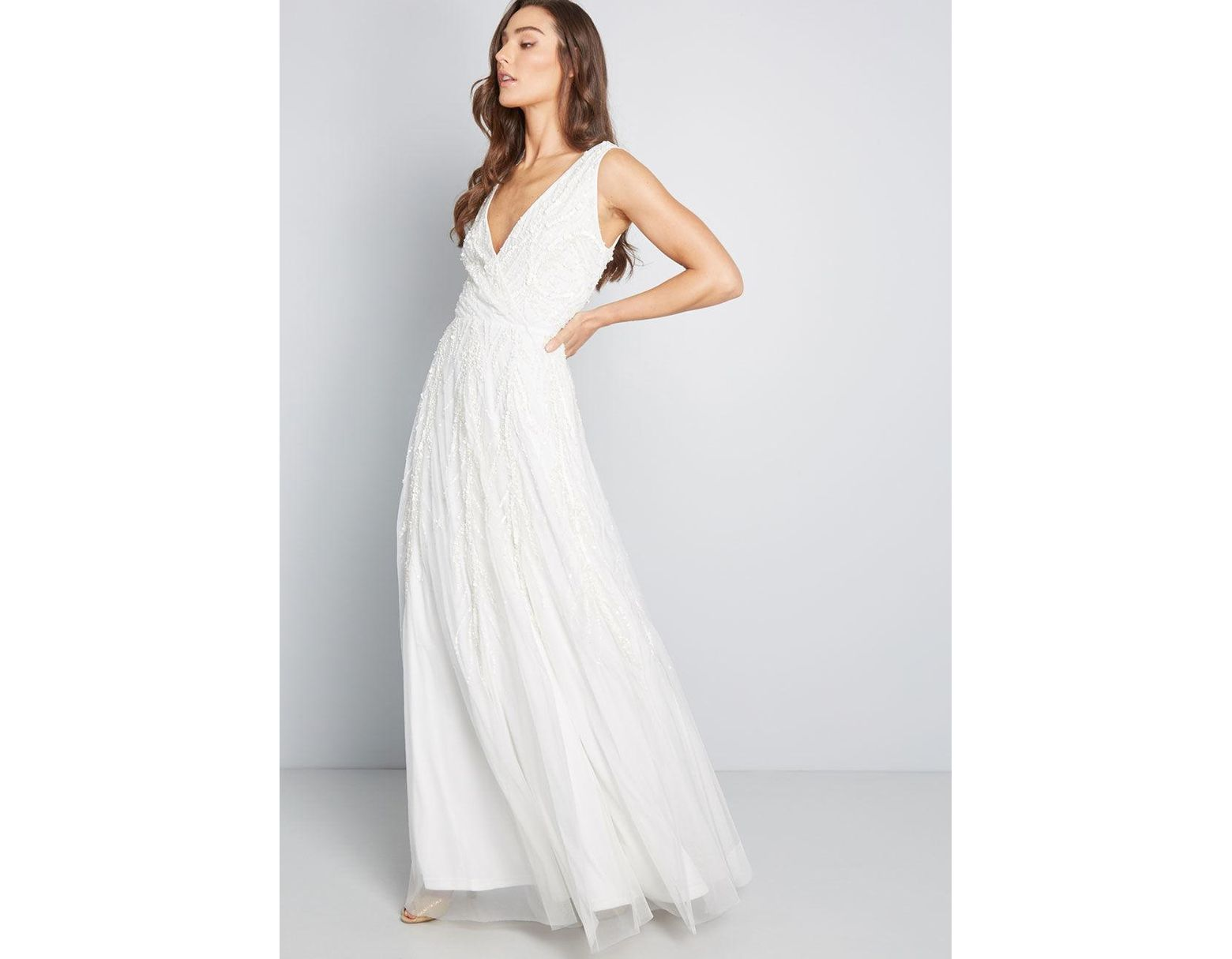 6e49131f2ae Adrianna Papell Astounding Abundance Sequin Maxi Dress in White - Lyst