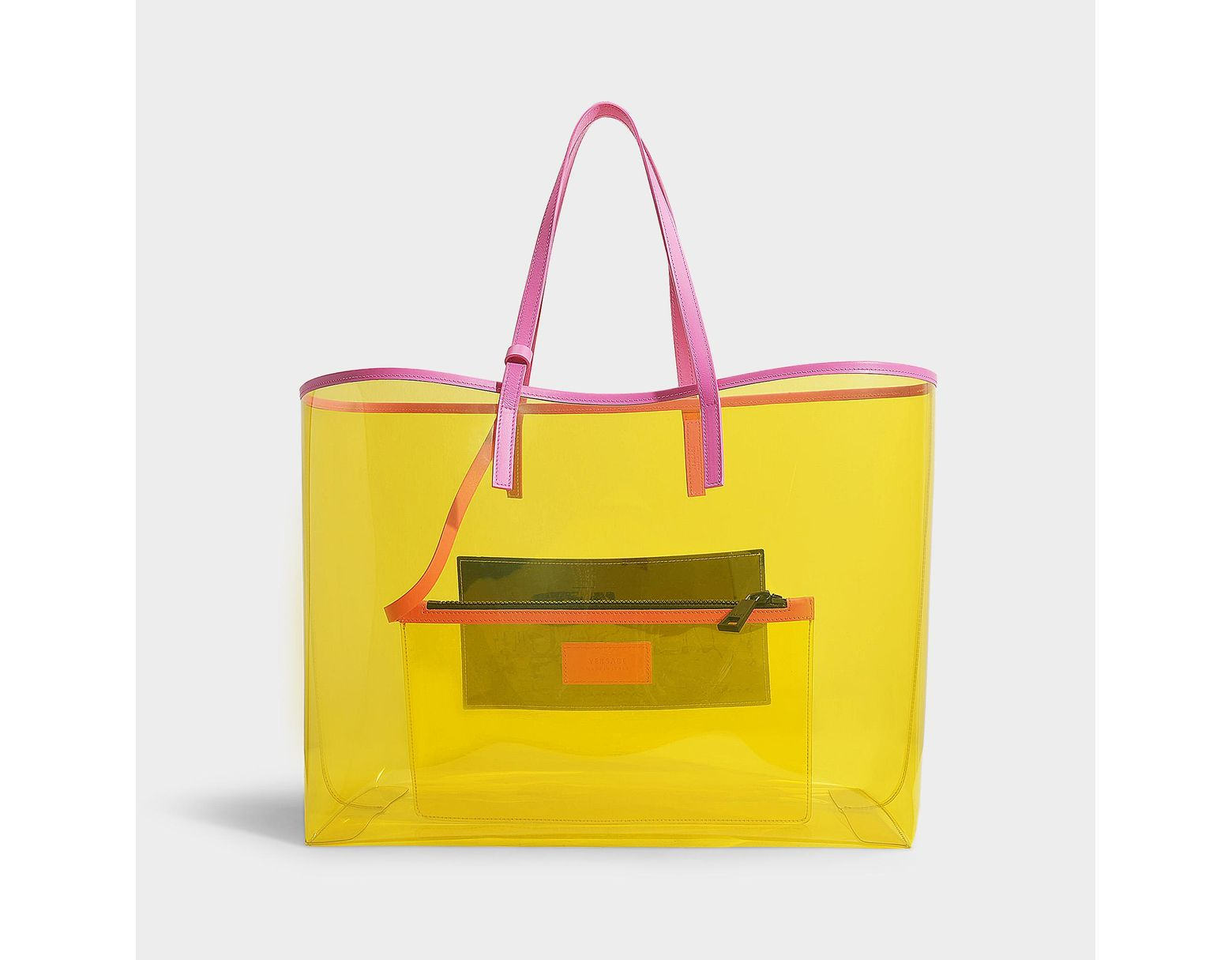 8426fca137 Versace 90's Vintage Logo Soft Tote In Yellow Clear Vinyl in Yellow - Save  52% - Lyst