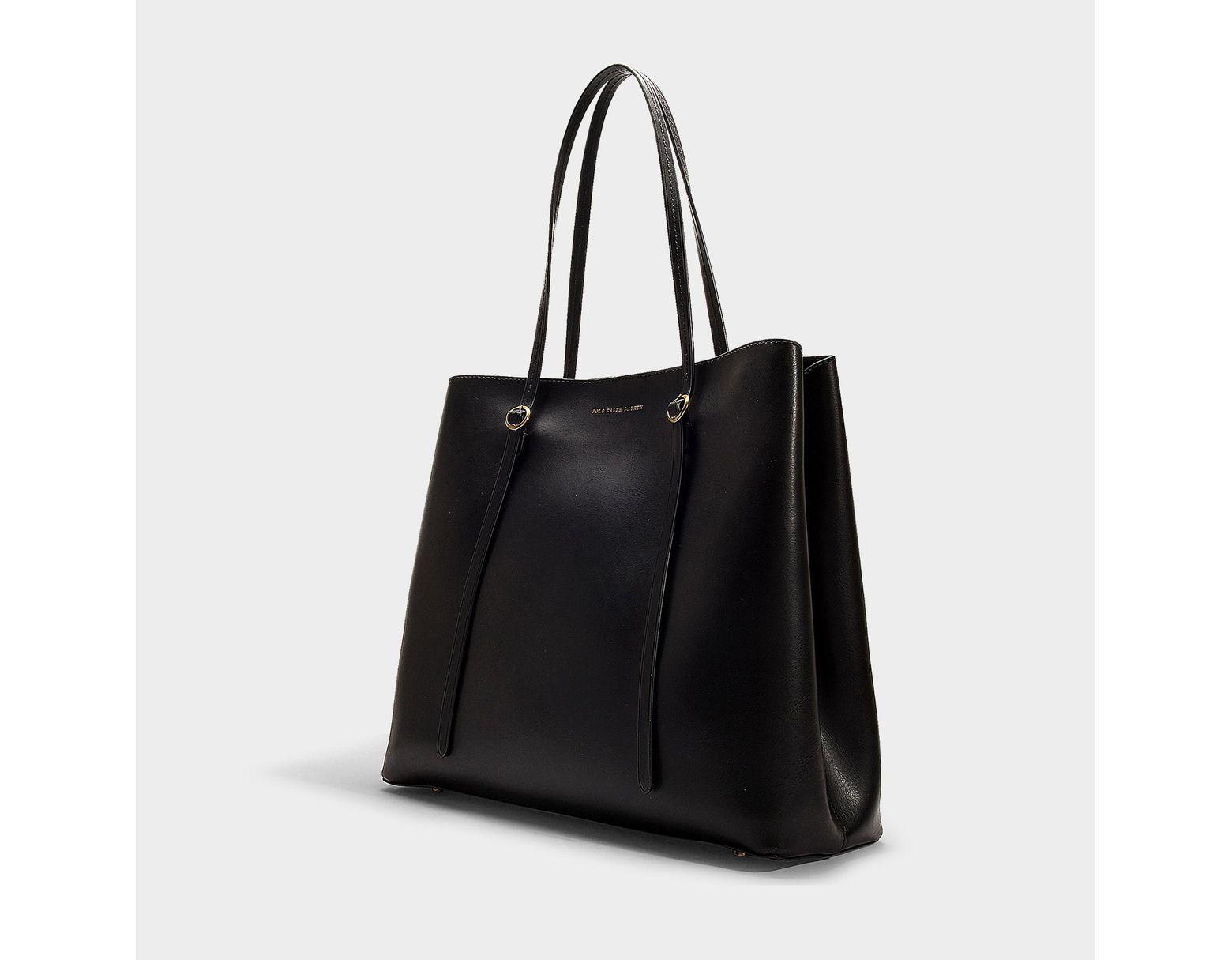 03b30512db Polo Ralph Lauren Big Lennox Tote Bag In Black Calfskin in Black - Save 73%  - Lyst