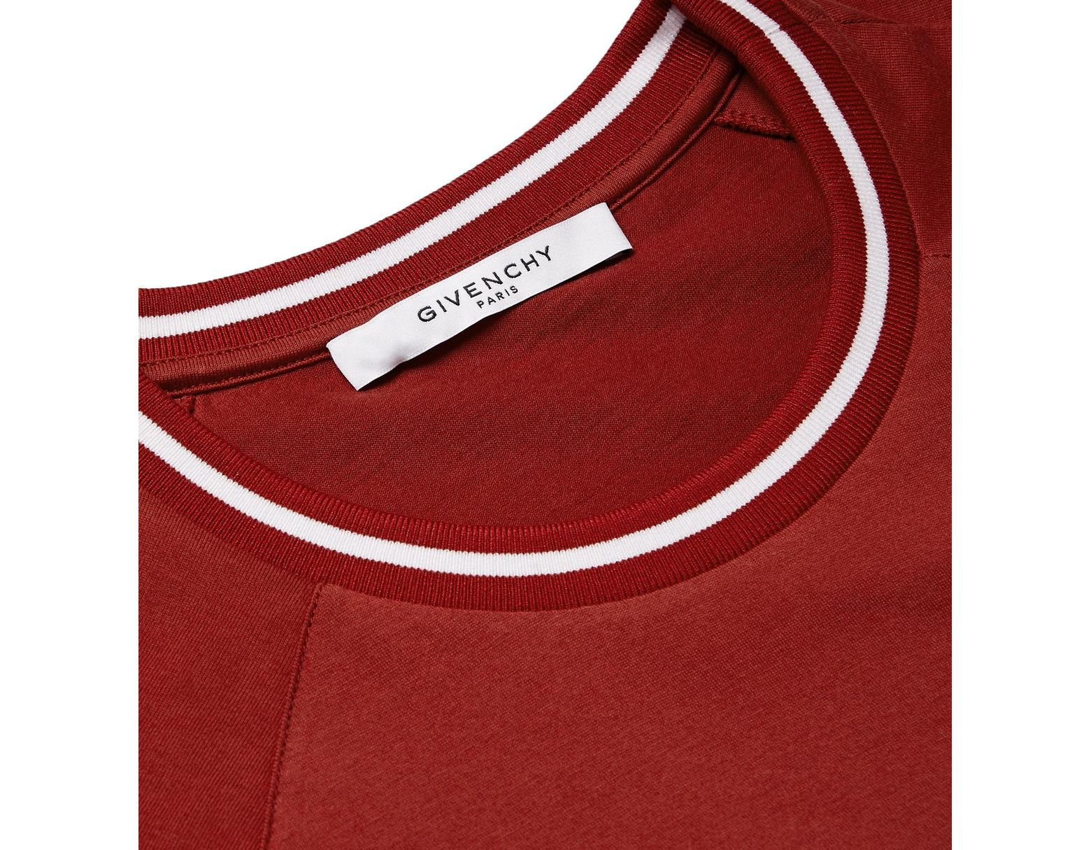 b15dbde1 Givenchy Logo-embroidered Striped Cotton-jersey T-shirt in Red for Men -  Save 60% - Lyst