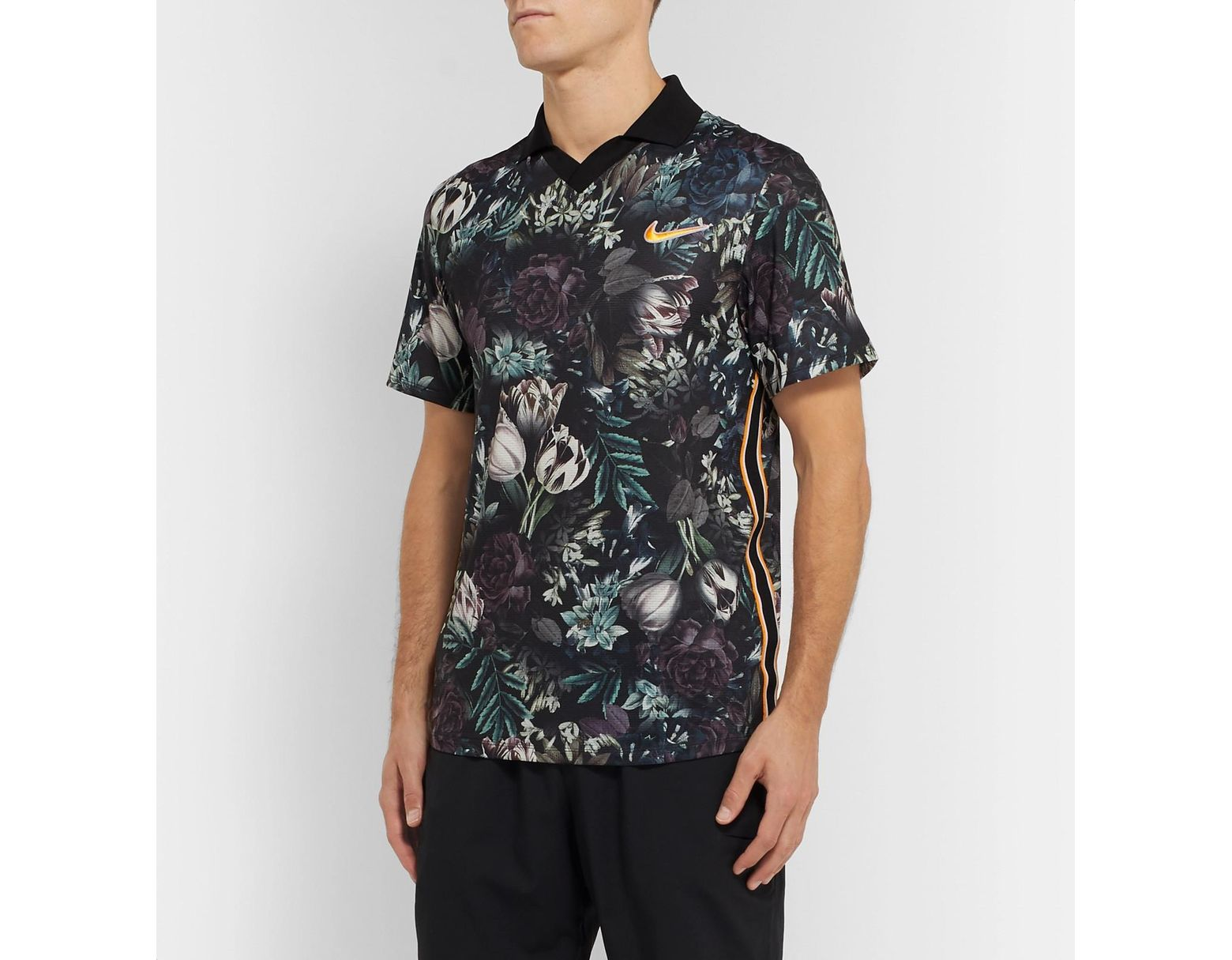 7176c8917 Nike Nikecourt Slam Striped Floral-print Dri-fit Tennis Polo Shirt in Black  for Men - Lyst