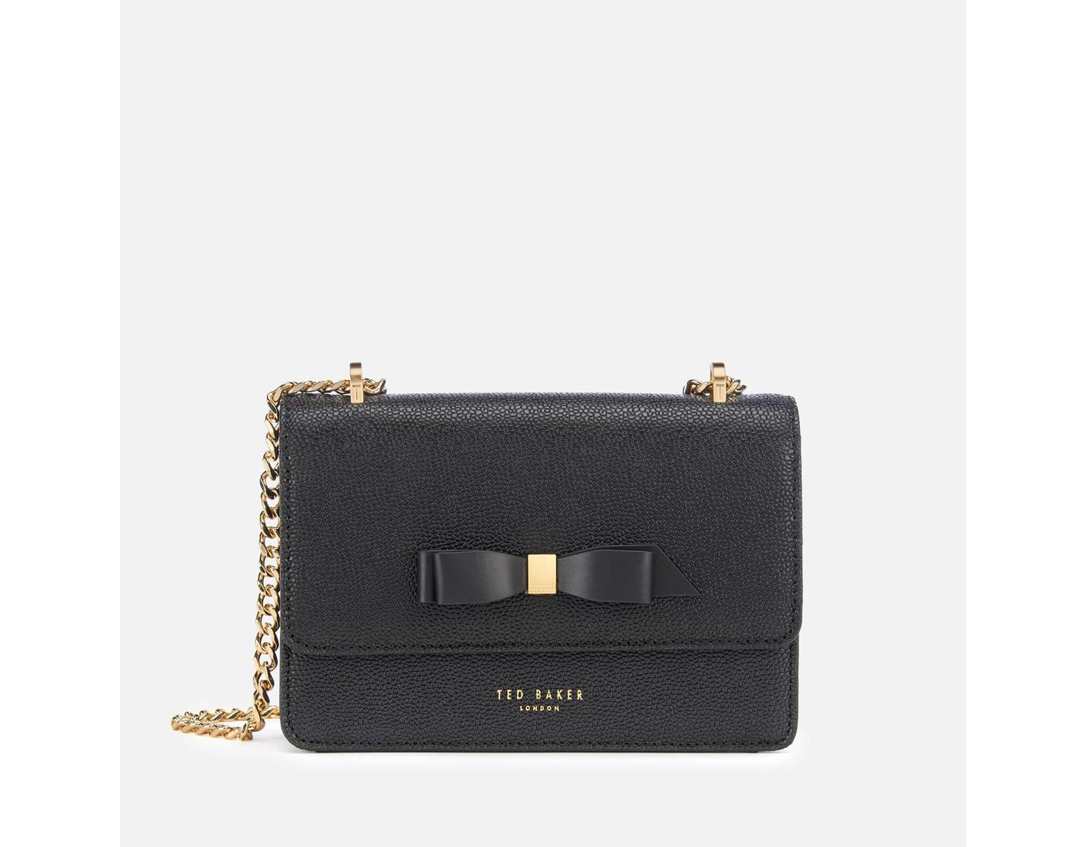 5b1837e10 Ted Baker Jayllaa Bow Detail Micro Cross Body Bag in Black - Lyst