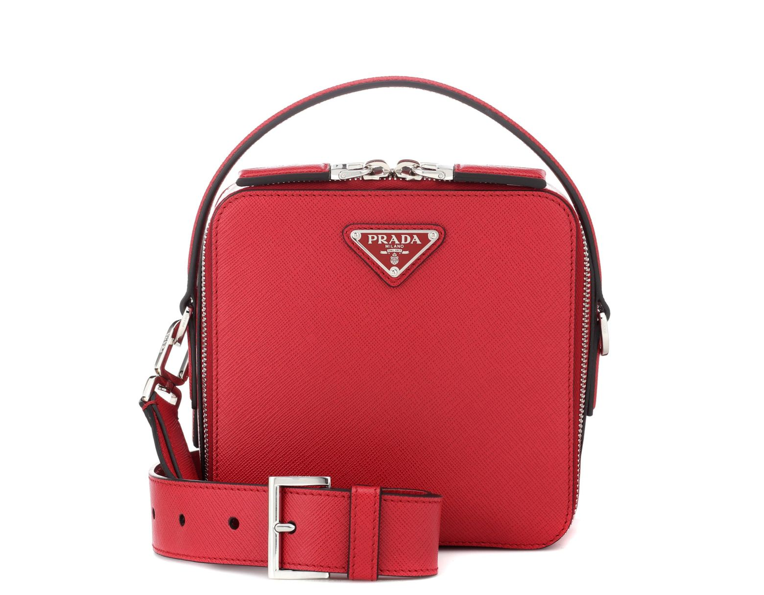 268c31822843 Prada Brique Leather Crossbody Bag in Red - Lyst