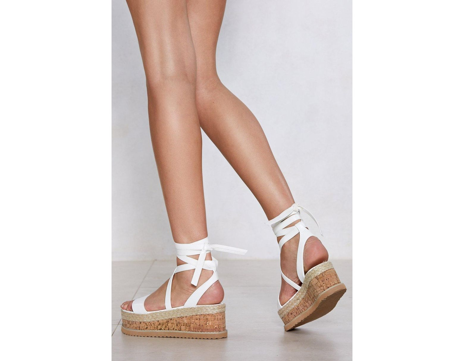 4382cfe4c Lyst - Nasty Gal Enough With The Cork Platform Sandal in White - Save 29%