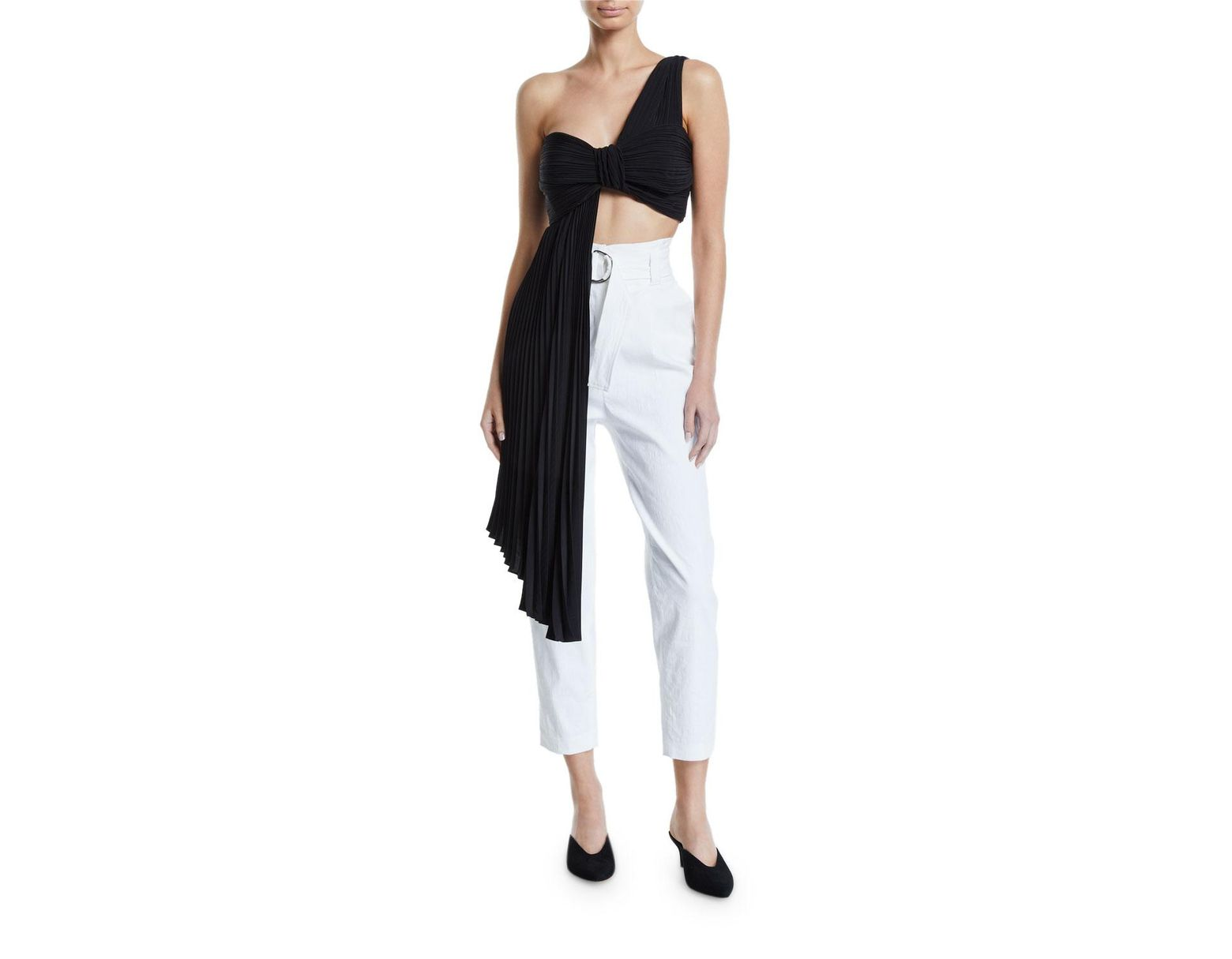 023c9aa7b91a A.L.C. Liv Draped One-shoulder Plisse Crop Top in Black - Save 25% - Lyst