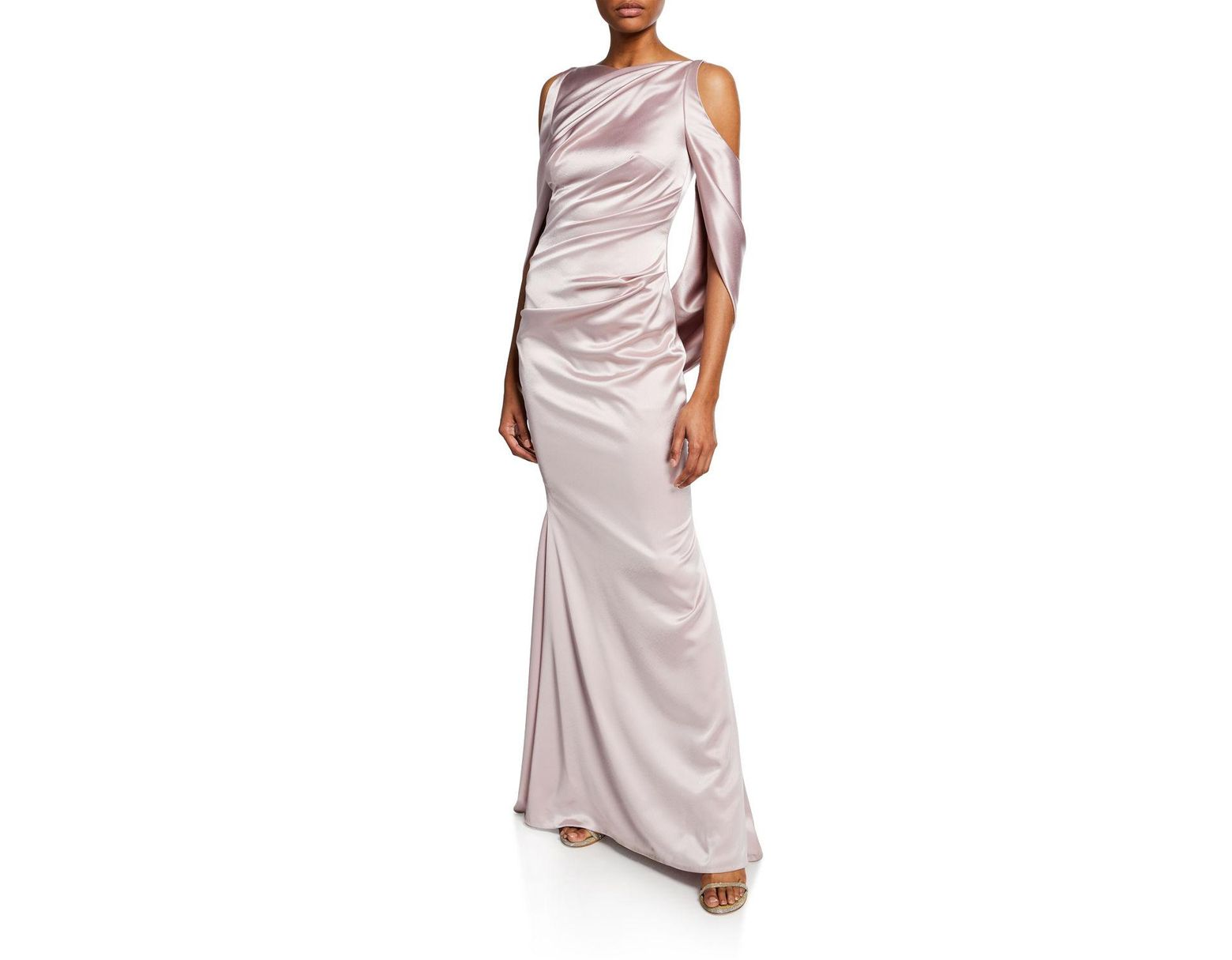 afa45c07f01 Talbot Runhof Ponceau High-neck Draped Bodice Shiny   Matte Crepe Satin  Evening Gown in Pink - Lyst