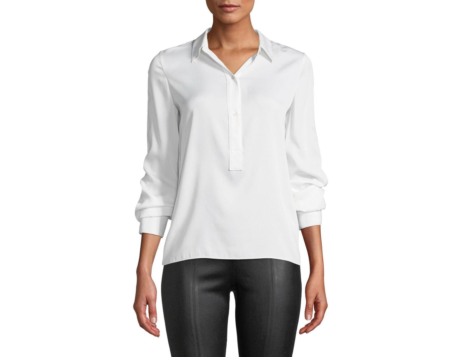 1189b8d9154f27 Vince Slim-fit Silk Button-front Popover Shirt in White - Save 48% - Lyst