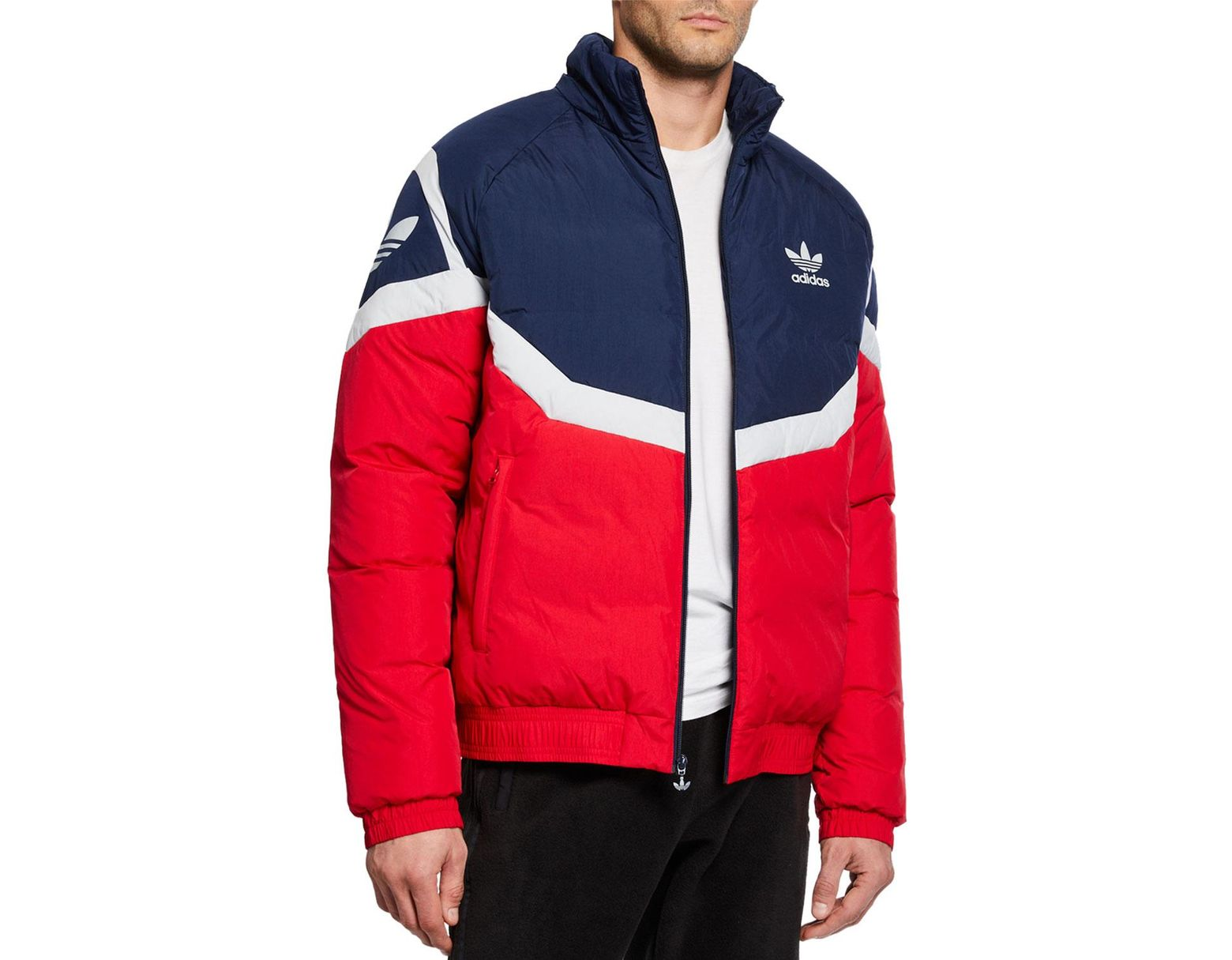 adidas Men's Colorblock Down Puffer Jacket in Red for Men Lyst