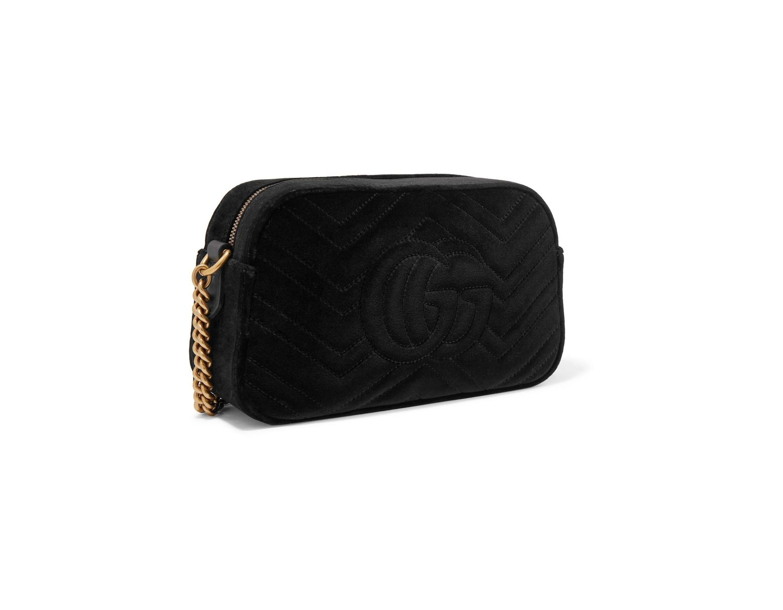0b9247ab707 Lyst - Gucci Gg Marmont Small Leather-trimmed Quilted Velvet Shoulder Bag  in Black