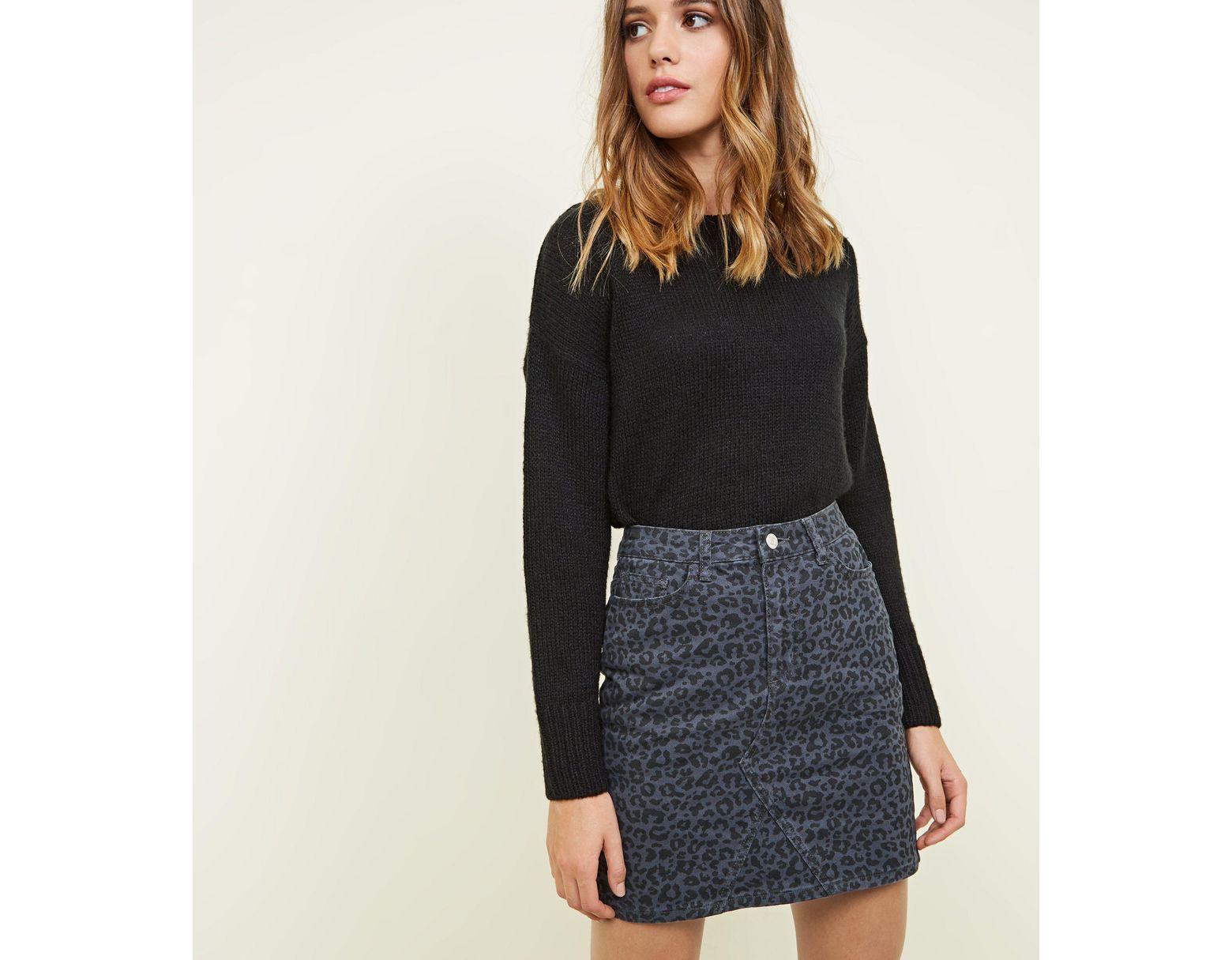 19bd9f2dd6 New Look Grey Leopard Print Denim Mini Skirt in Gray - Lyst