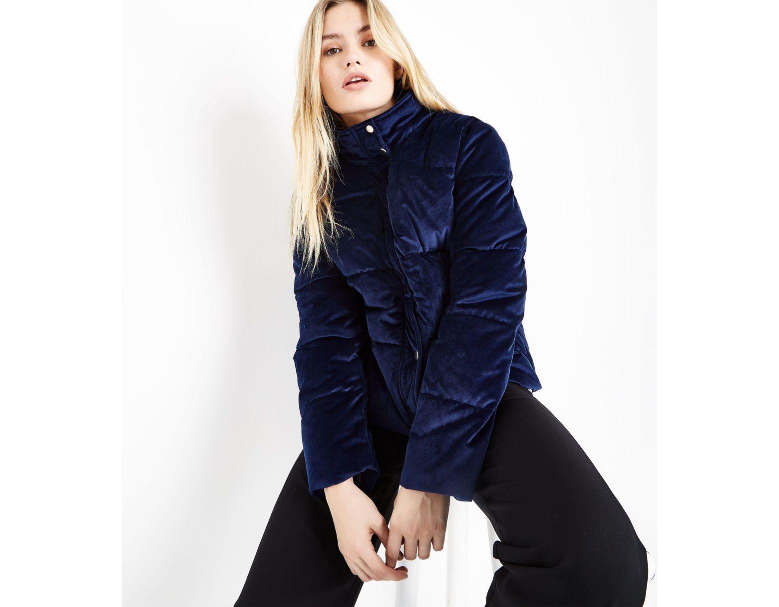 f31e389848261 Urban Bliss Navy Velvet Puffer Jacket in Blue - Lyst
