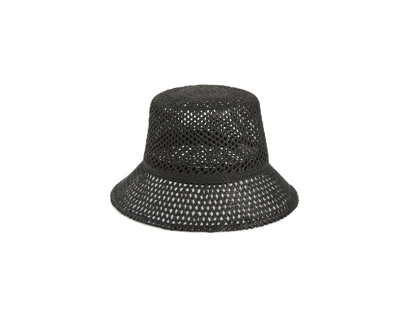 58d7e45d3b336b Nordstrom Open Weave Straw Bucket Hat in Black - Lyst