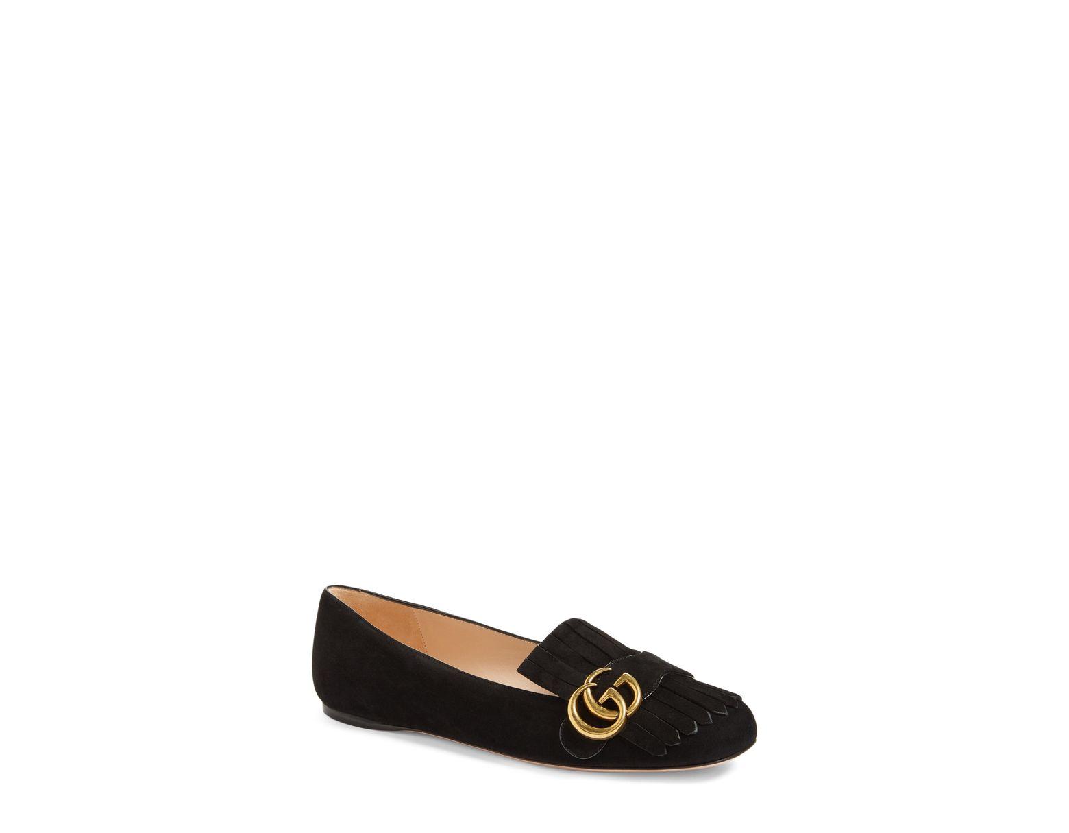 78b1f17fe4a Lyst - Gucci Marmont Fringe Flat in Black