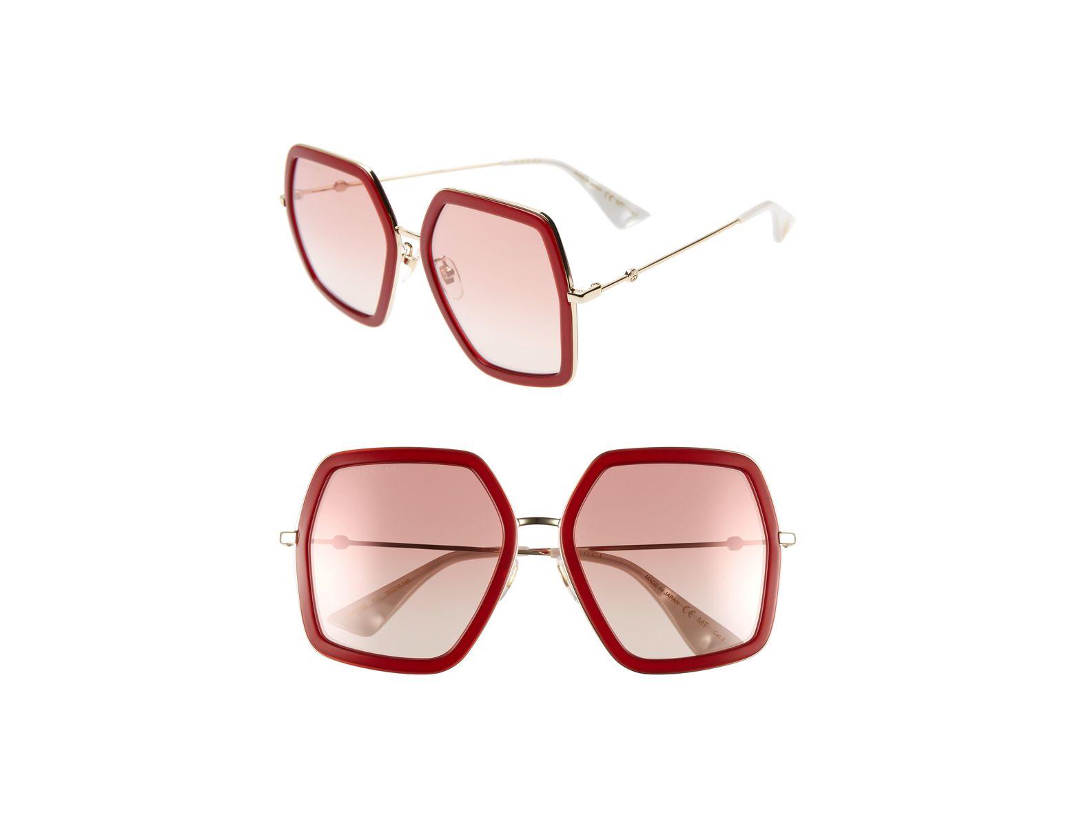 67aaab4097938 Gucci 56mm Sunglasses - Shiny Endura Gld pk Grad Mir in Red - Lyst