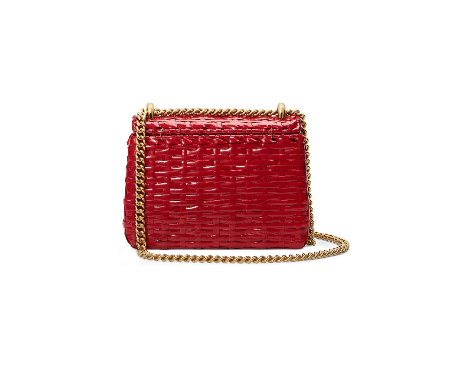 5e3a6c13b5a Lyst - Gucci Small Linea Cestino Glazed Wicker Shoulder Bag in Red