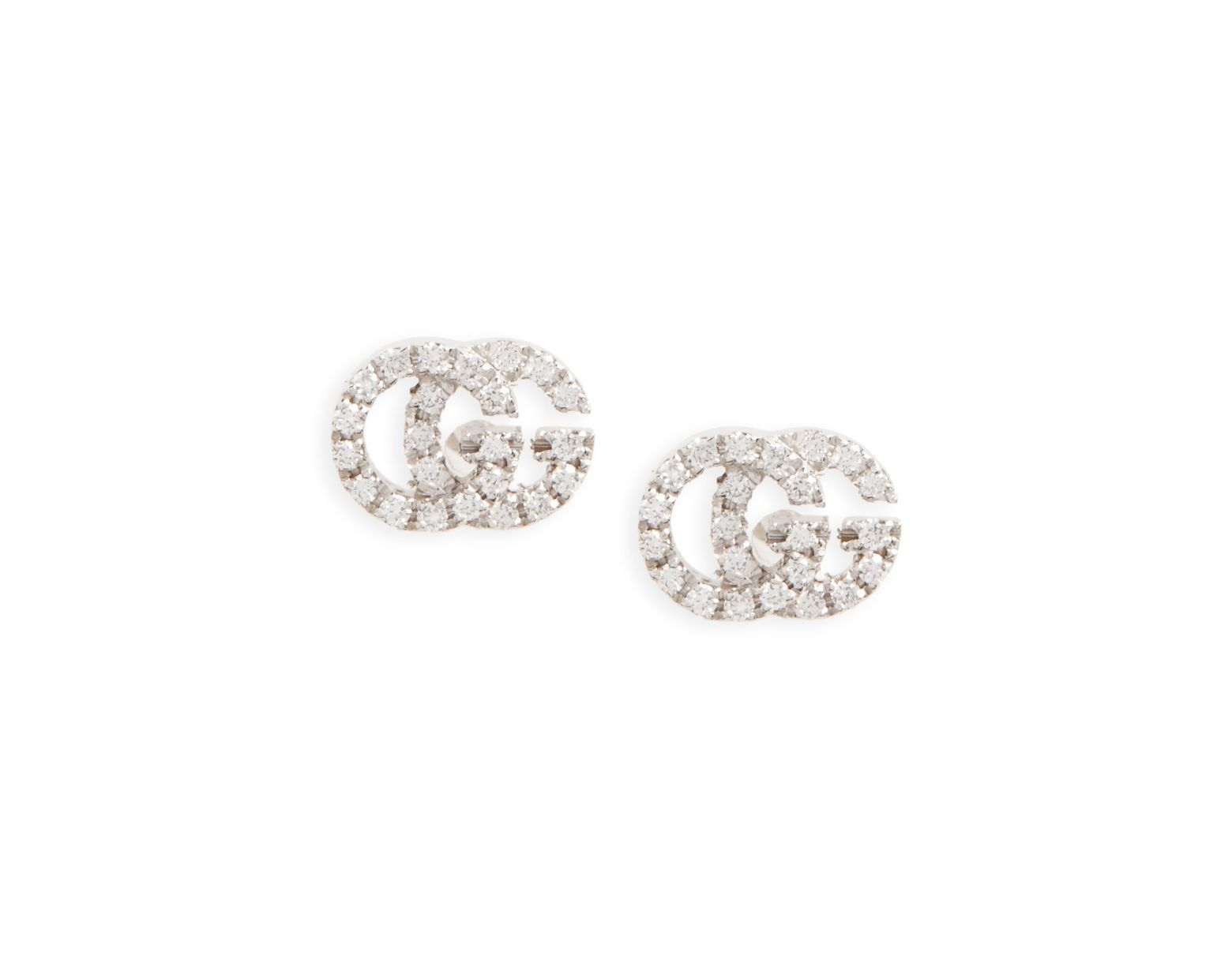 882b424ee Gucci Women's 18k White Gold & Diamond Double G Studs - White Gold in  Metallic - Save 7% - Lyst