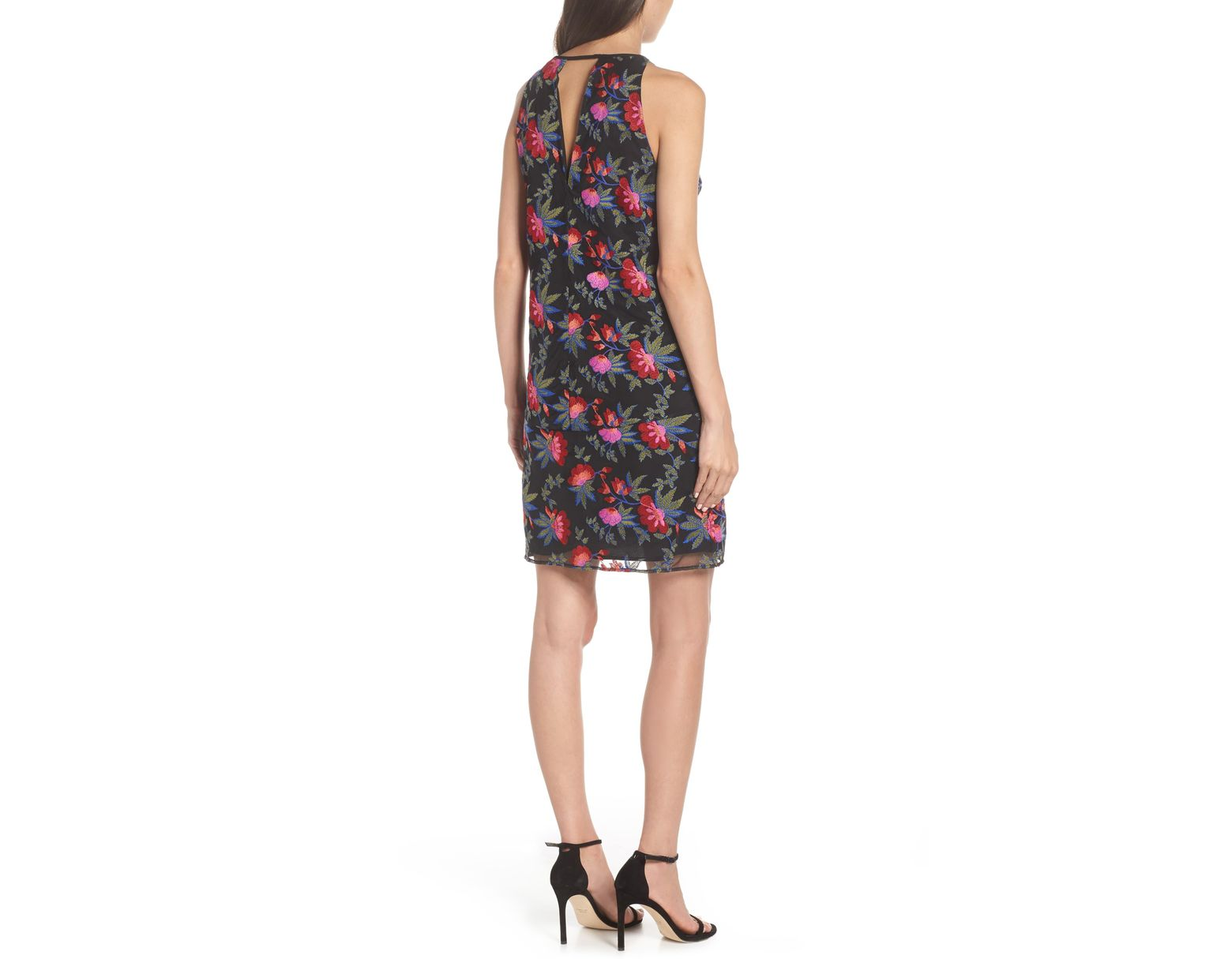9b9b2242df25 Sam Edelman Embroidered Mesh Shift Dress in Black - Lyst