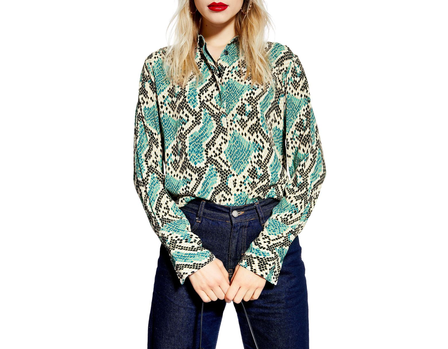157140c29c6950 TOPSHOP Mensy Snake Print Shirt in Blue - Save 51% - Lyst