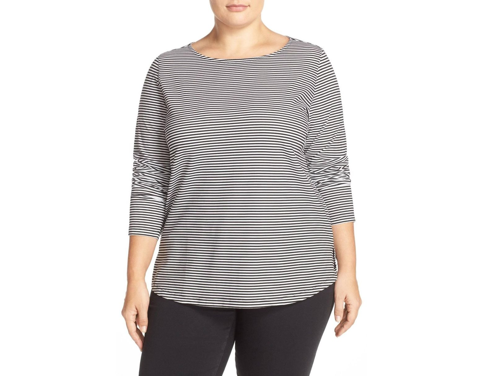 ed0aa04e328bed Sejour Stripe Ballet Neck Long Sleeve Tee (plus Size) in White - Lyst