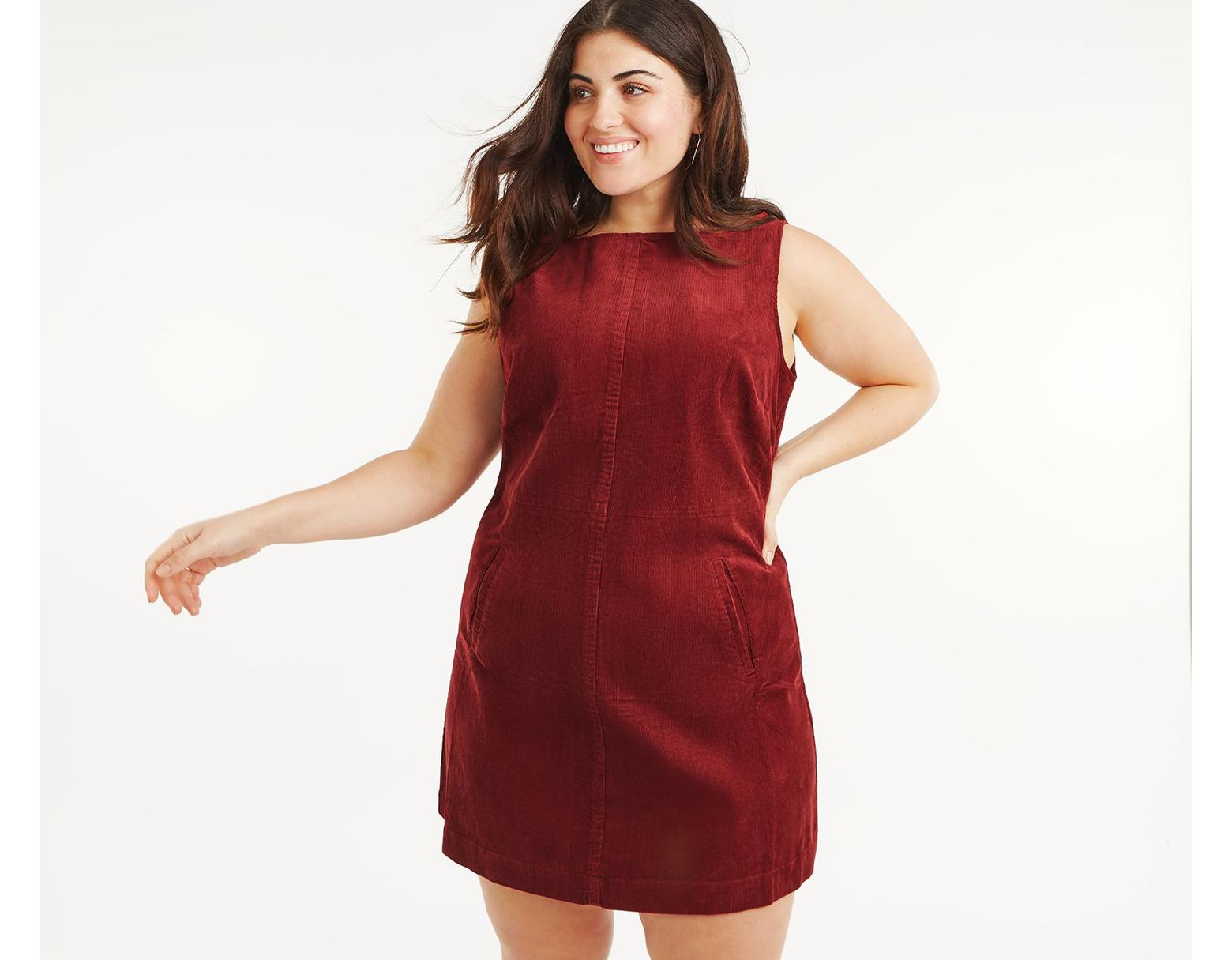 hot-selling great discount sale watch Oasis Curve Slash Neck Cord Dress* in Red - Lyst