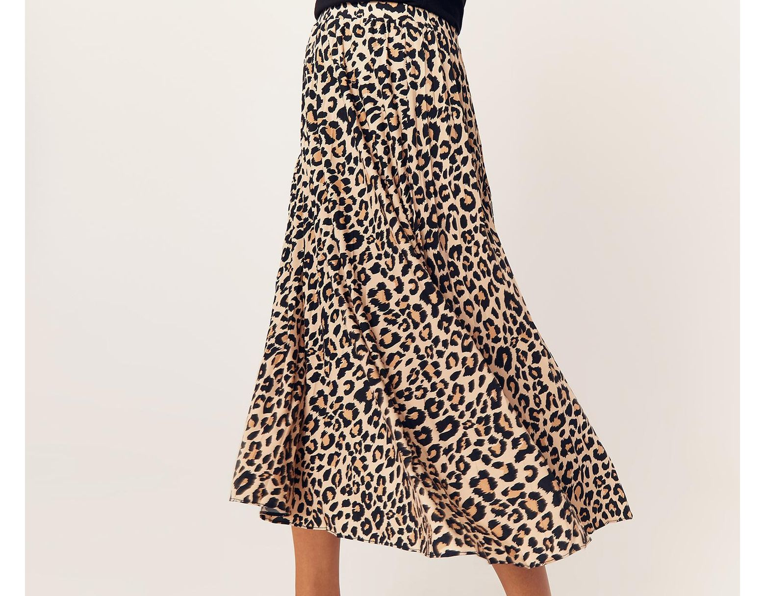 9fce4706d08c Oasis Leopard Pleated Skirt - Lyst