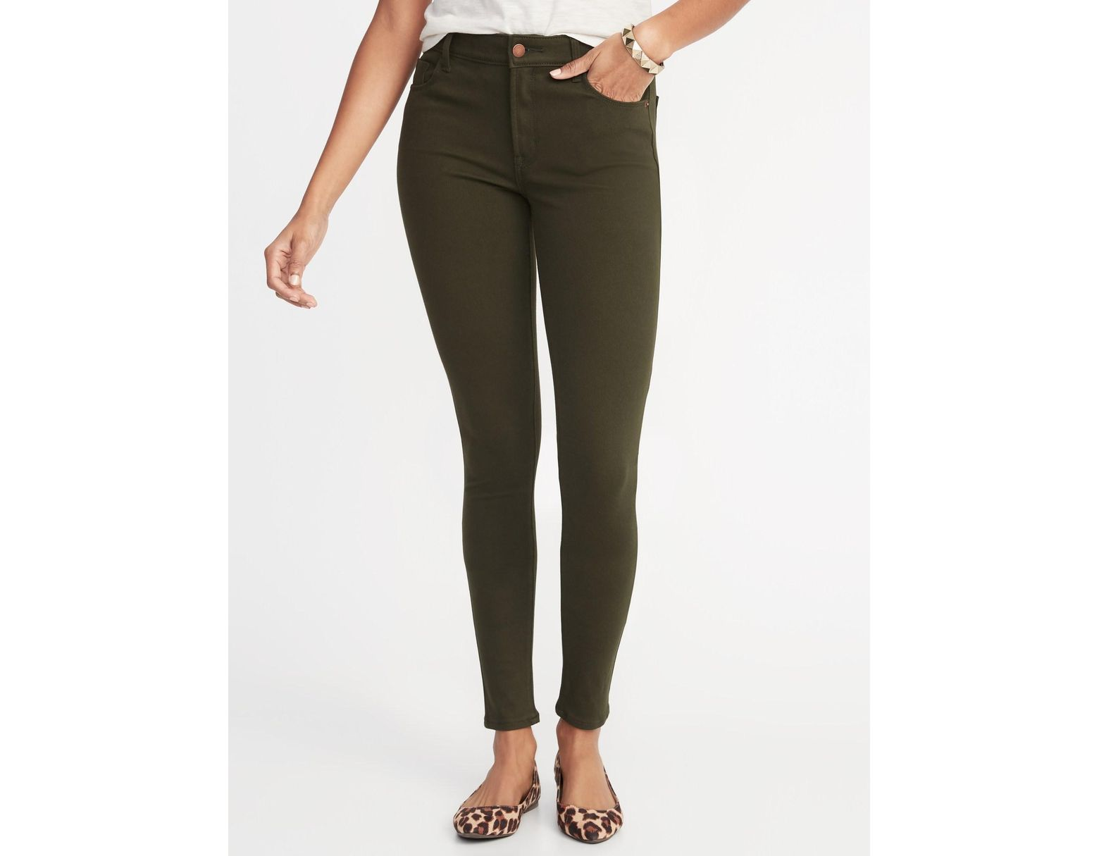ae28a23843 Old Navy Mid-rise Rockstar 24/7 Pop-color Super Skinny Jeans in Green - Lyst