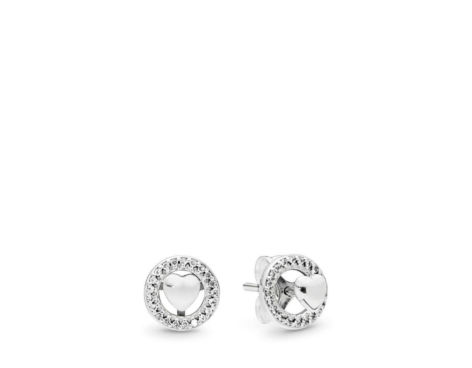 e2f191192 PANDORA Forever Hearts Stud Earrings - Lyst