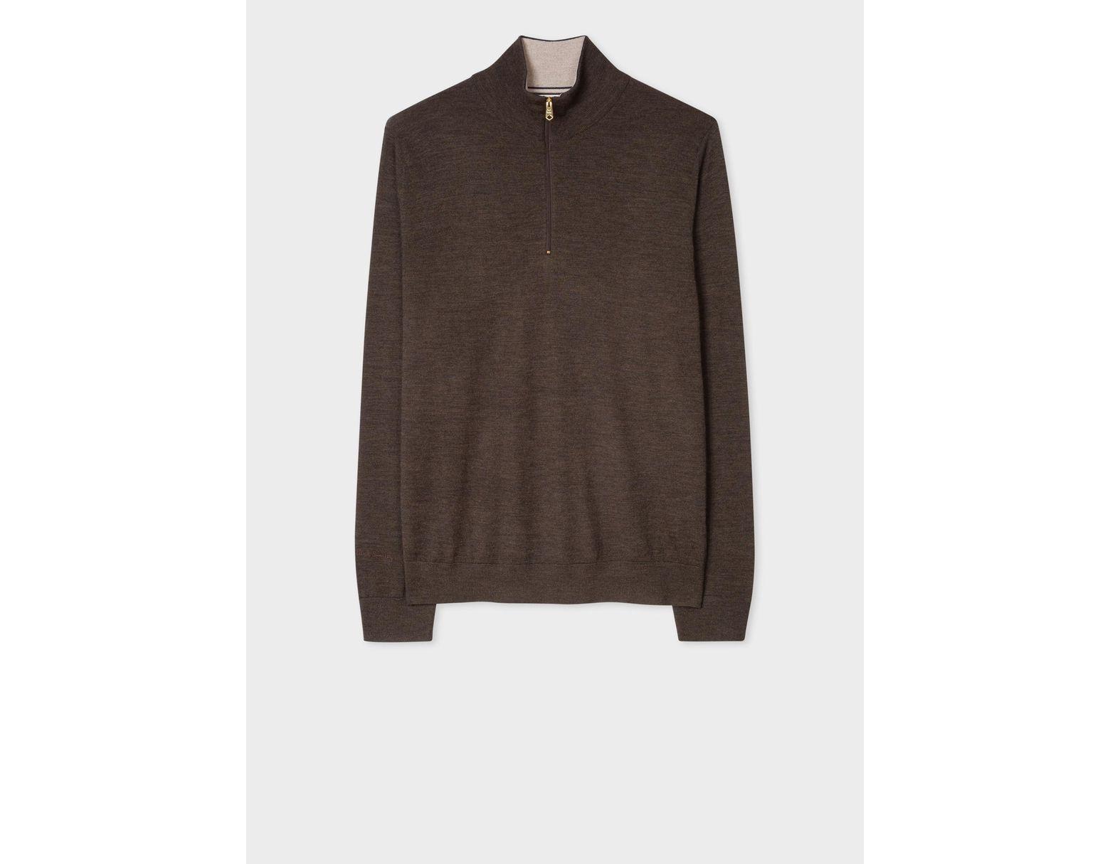 a73f11abdaa Lyst - Paul Smith Hazelnut Funnel Neck Merino Wool Half-zip Sweater ...