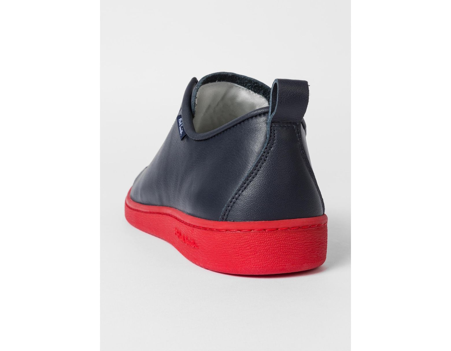 separation shoes e07ed 1d87e Paul Smith Navy Leather 'miyata' Trainers With Red Soles in ...