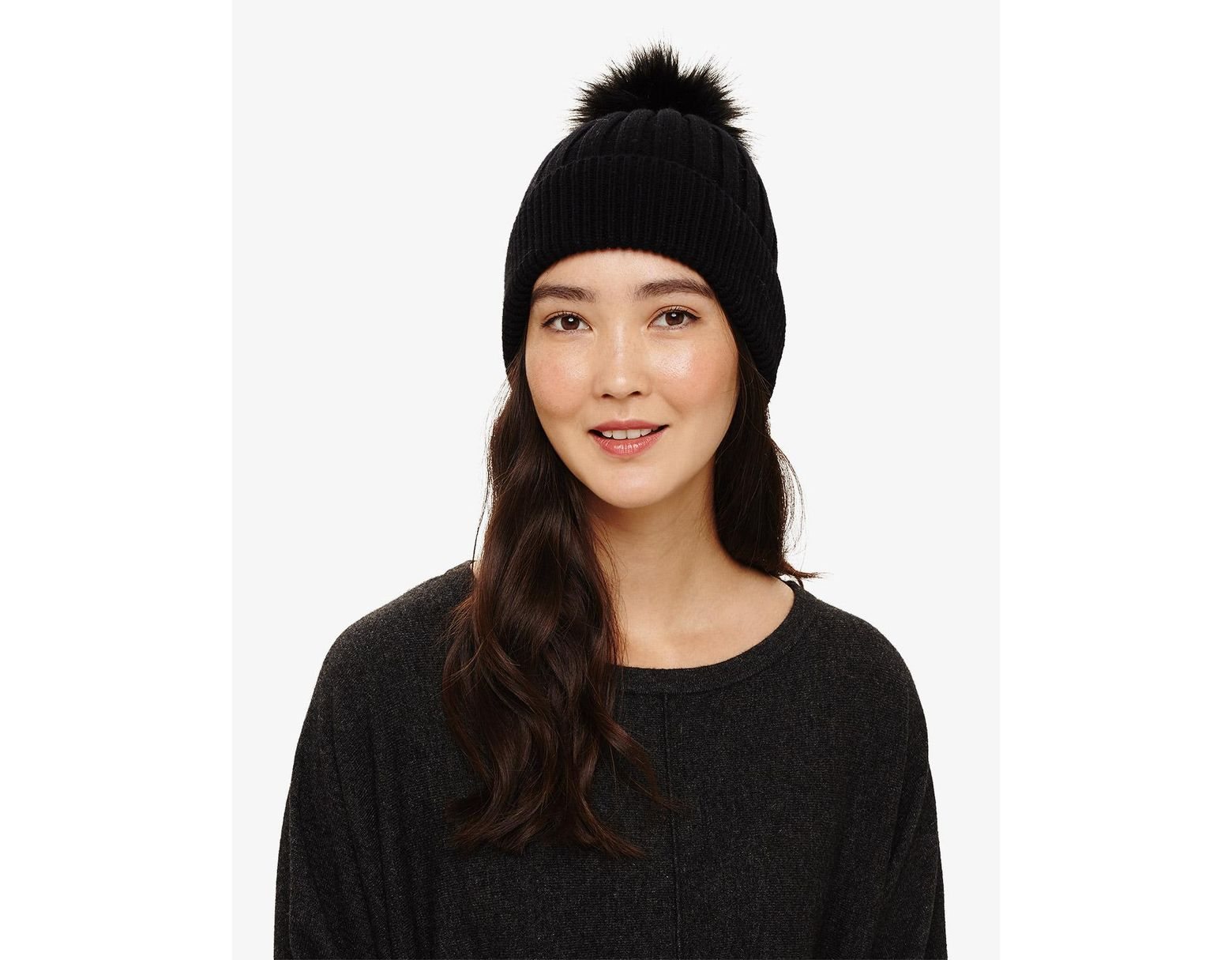 37ddb285b6d3e Phase Eight Black Tori Pom Pom Hat in Black - Lyst