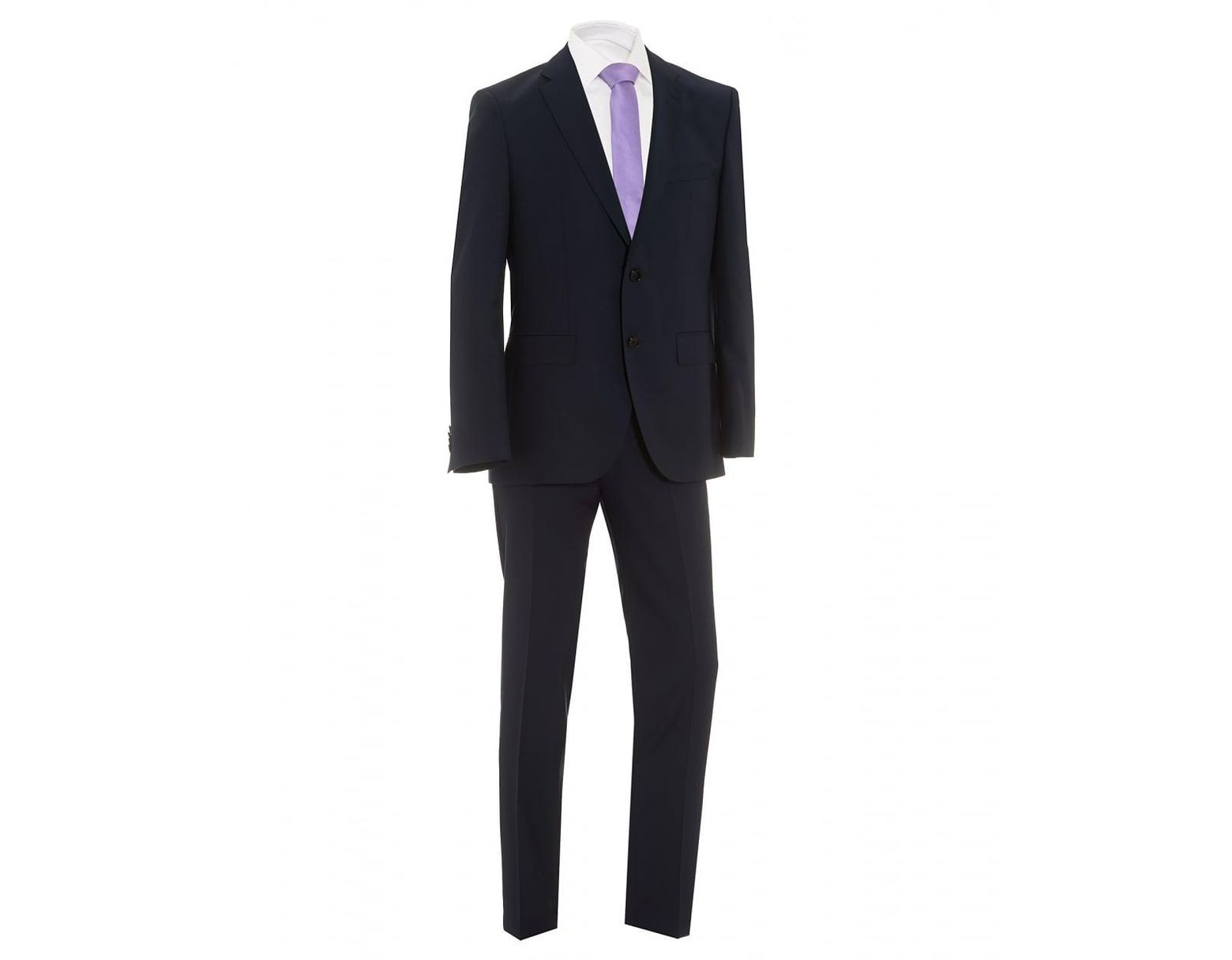 f1348f97d BOSS Johnstons Lenon Textured Dark Navy Regular Fit Suit in Blue for Men -  Lyst