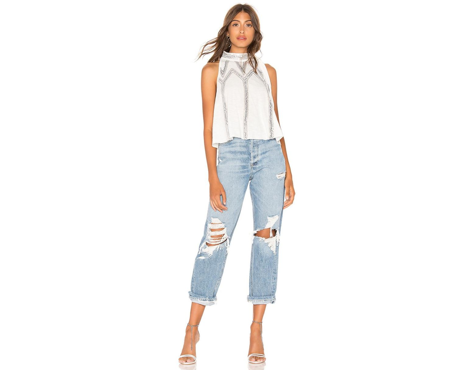fb7bb07c295117 Free People Glitter City Top in White - Lyst