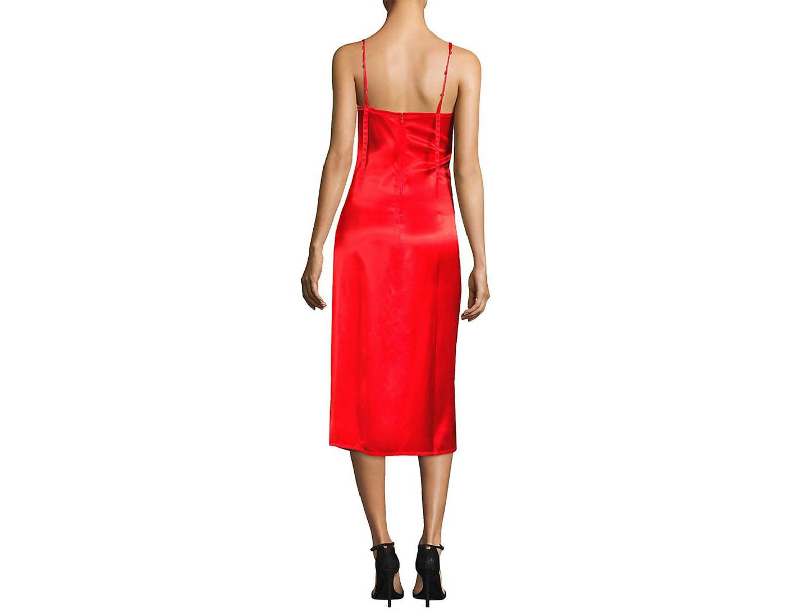 6bedc02ccb0f Helmut Lang Ruched Slip Dress in Red - Save 56% - Lyst