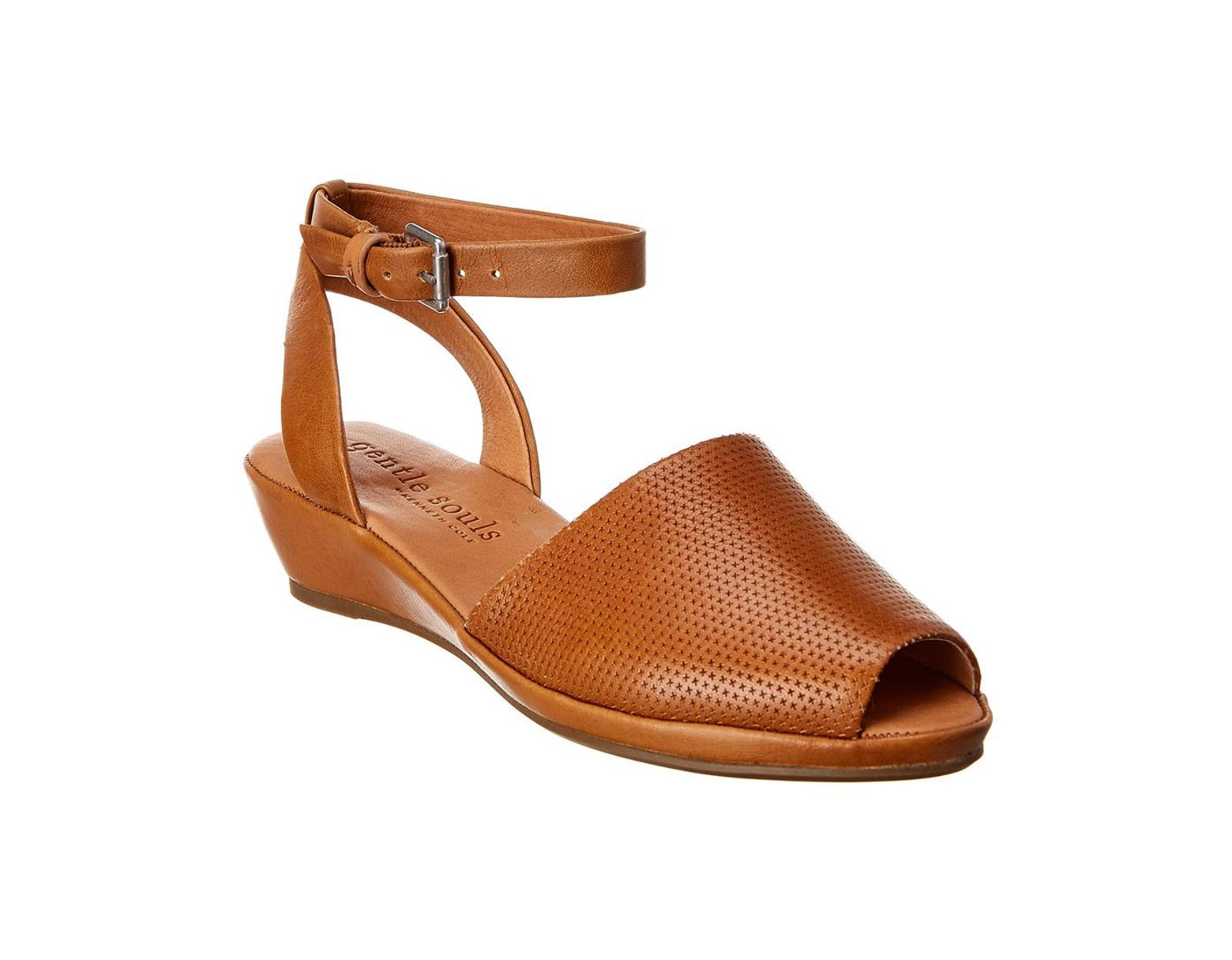 587a4c5bff8 Gentle Souls Lily Ankle Wrap 2 Leather Wedge Sandal in Brown - Lyst